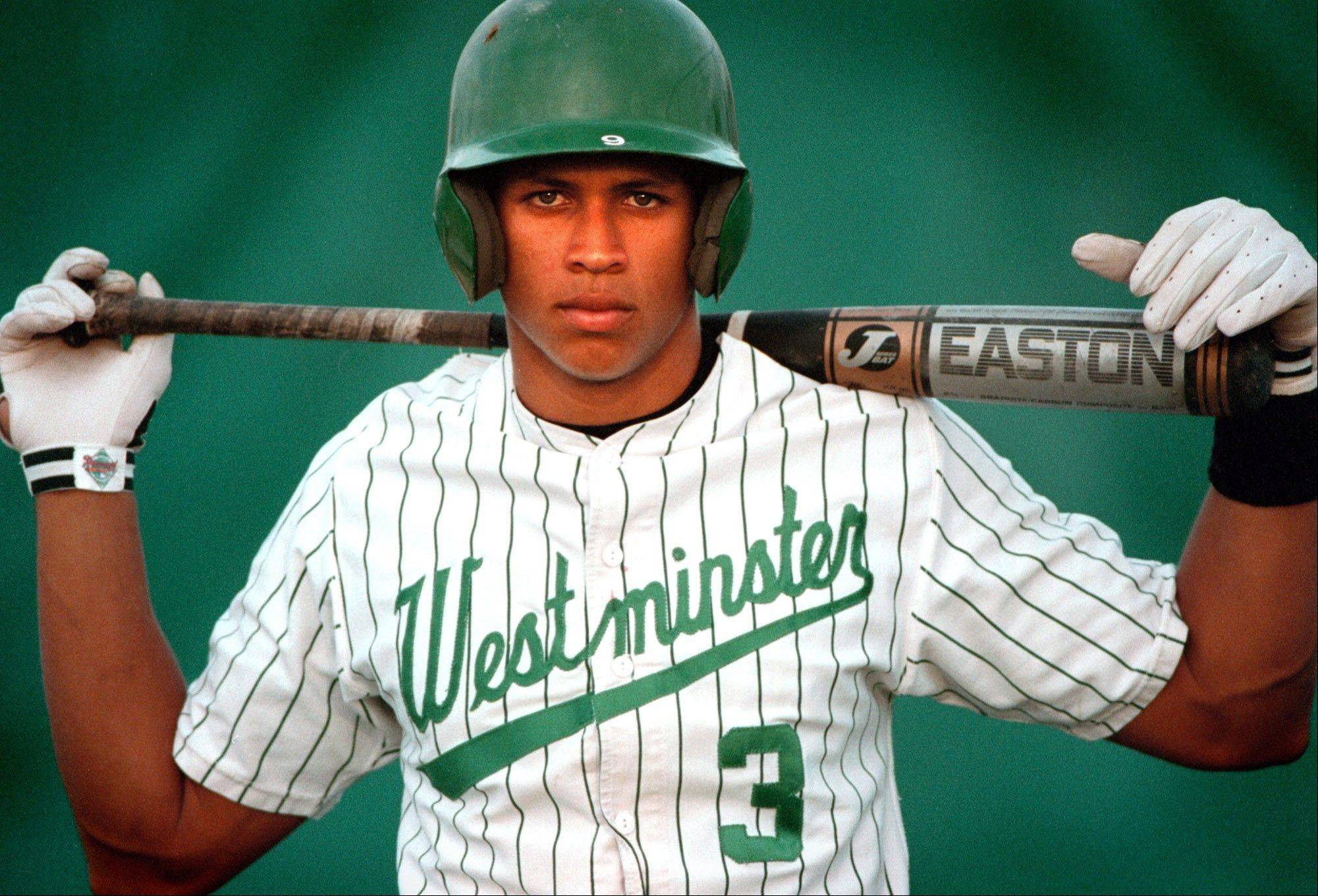 FILE- This 1990s file photo shows baseball player Alex Rodriguez when he played for Westminster Christian high school in Miami. Three MVP awards, 14 All-Star selections, two record-setting contracts and countless controversies later, A-Rod is the biggest and wealthiest target of an investigation into performance-enhancing drugs, with a decision from baseball Commissioner Bud Selig expected on Monday, Aug. 5, 2013.