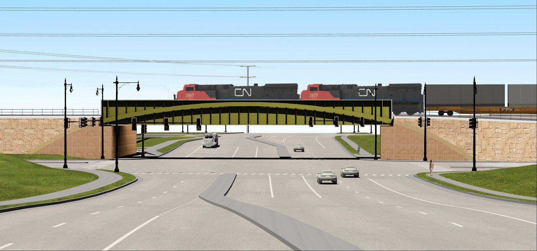 The lowering of Rollins Road beneath the Canadian National railroad adjacent to Route 83 in Round Lake Beach is expected to eliminate a longtime traffic bottleneck.