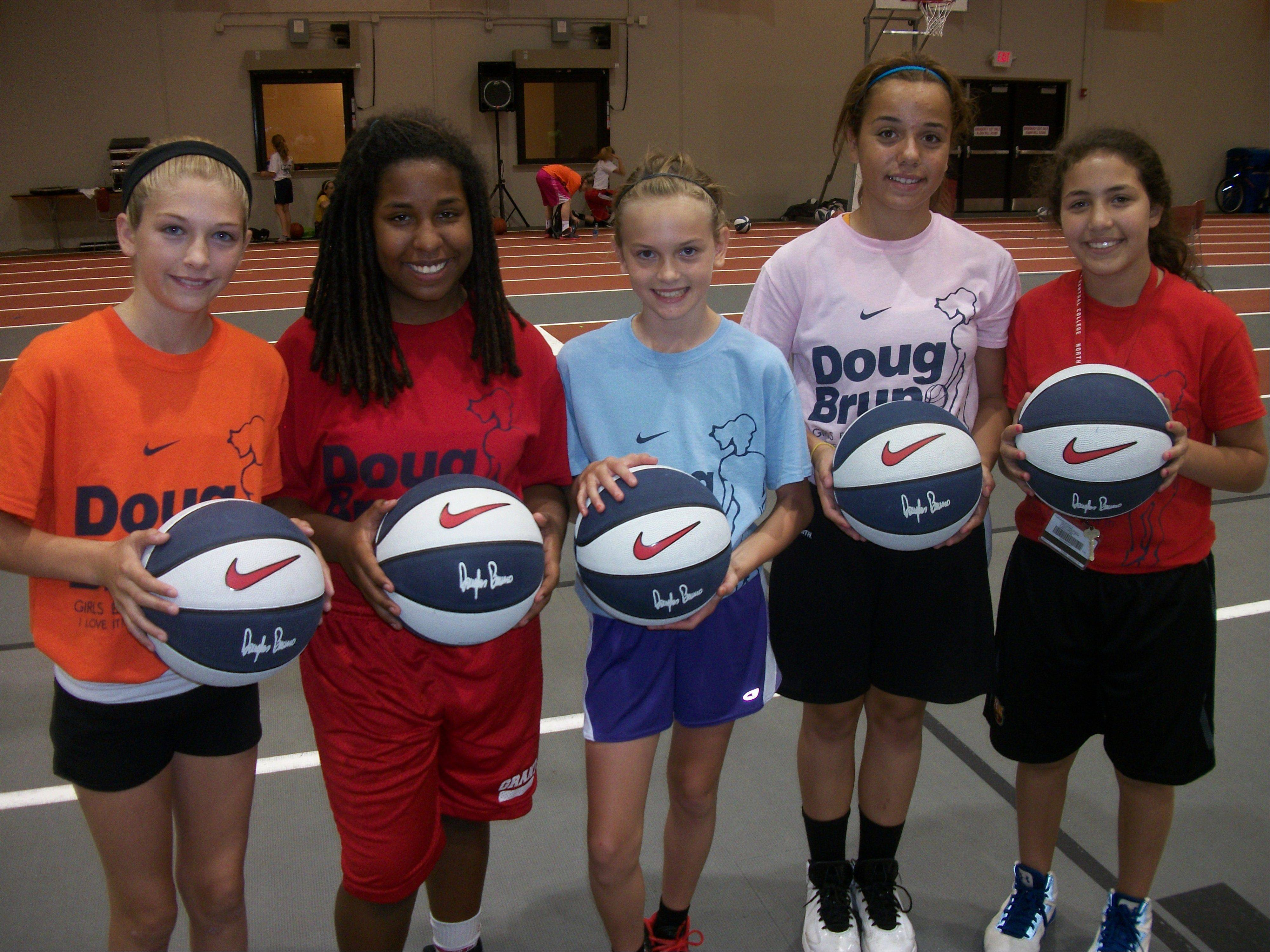 Enjoying their experience at Doug Bruno�s basketball camp this summer were, from left, Brooke Karpinske, Liz Schram, Kelsey McGraw, Gabby Rogalovich and Mercedes Uribe.