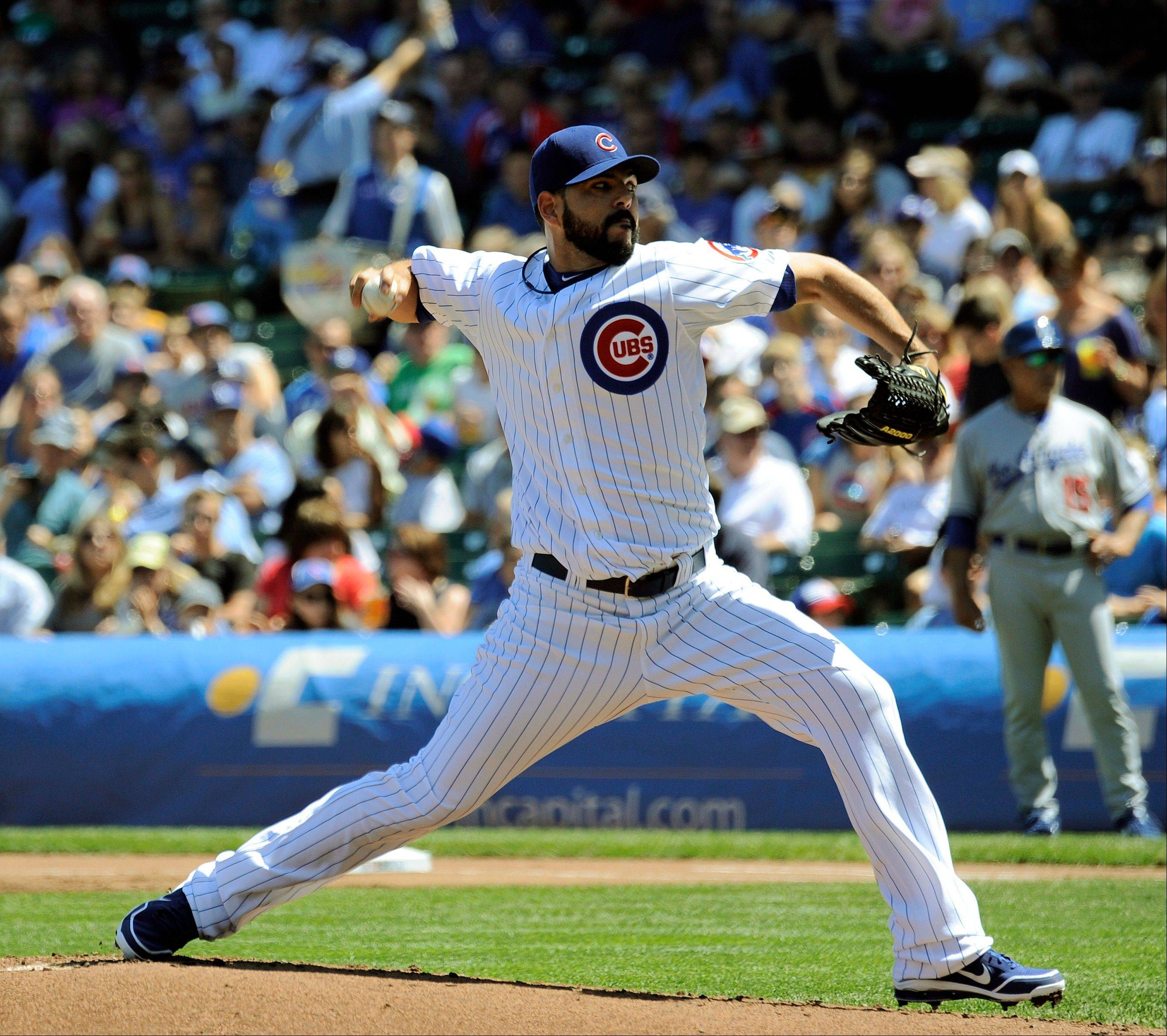 Cubs starter Carlos Villanueva throws a pitch in the first inning Sunday against the Dodgers.