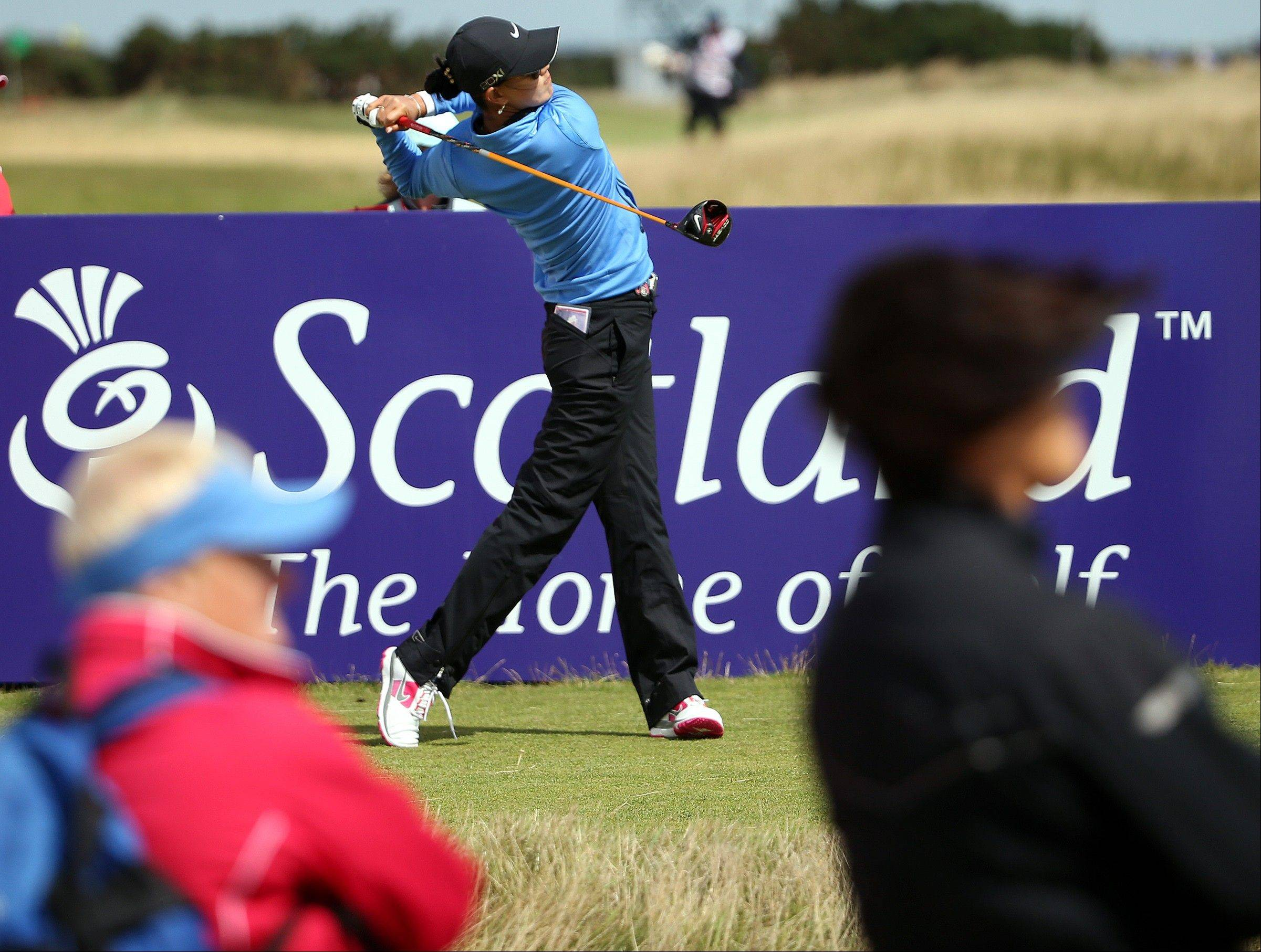 Michelle Wie tees off on the 13th during the third round of the Women�s British Open golf championship Saturday on the Old Course at St Andrews, Scotland.