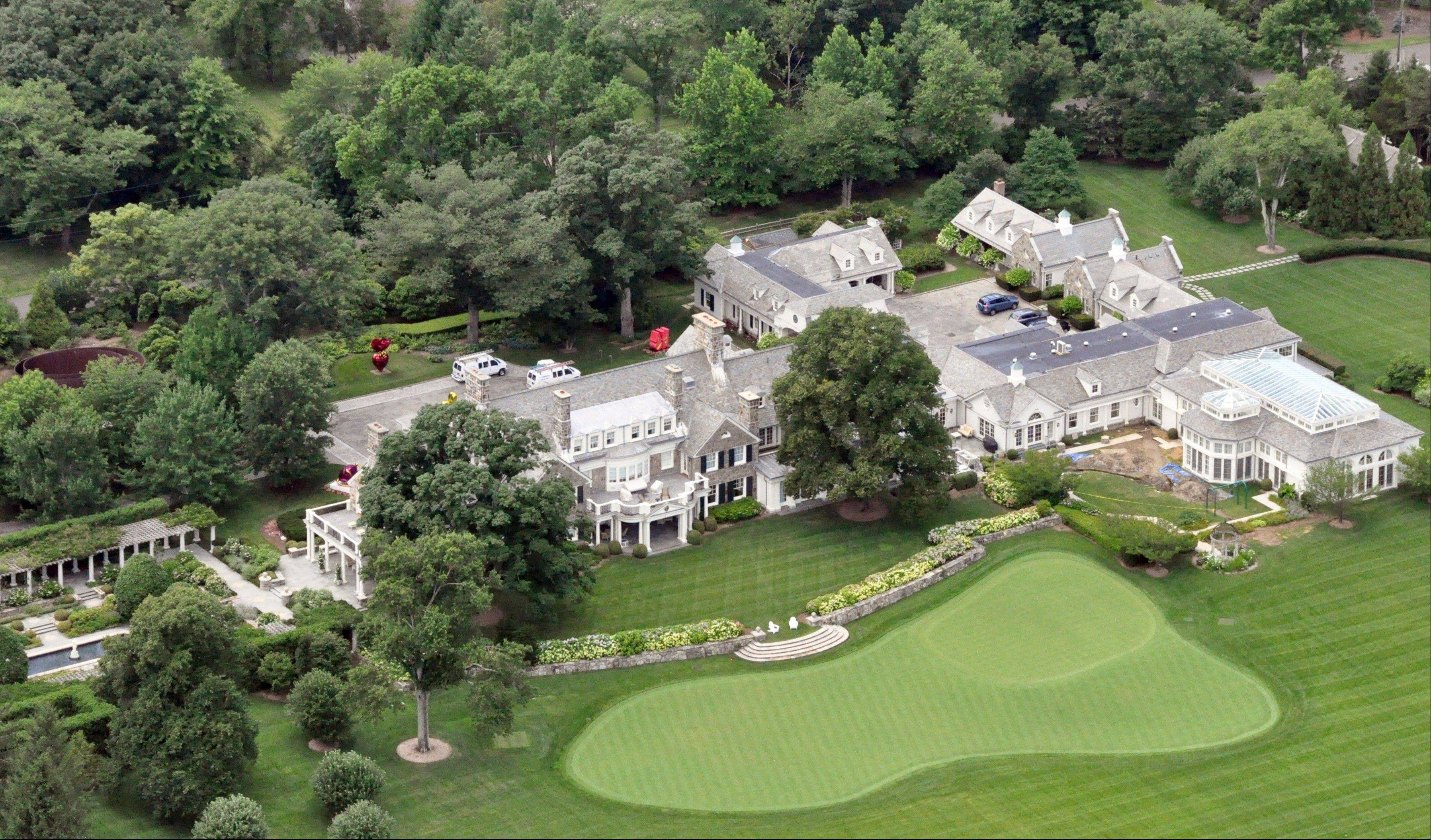 This aerial photograph shows the Greenwich, Conn. estate belonging to billionaire hedge fund owner Stephen Cohen, Friday, July 26, 2013. Prosecutors charged Cohen's company, SAC Capital Advisors, with wire fraud and securities fraud, accusing the Stamford-based company of letting insider trading flourish over a decade and making hundreds of millions of dollars illegally. Cohen has not been charged.