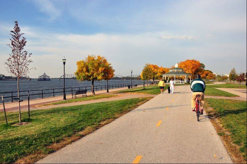 The city of Davenport owns more than nine miles of riverfront with parks for bicycling, walking and other forms of recreation.
