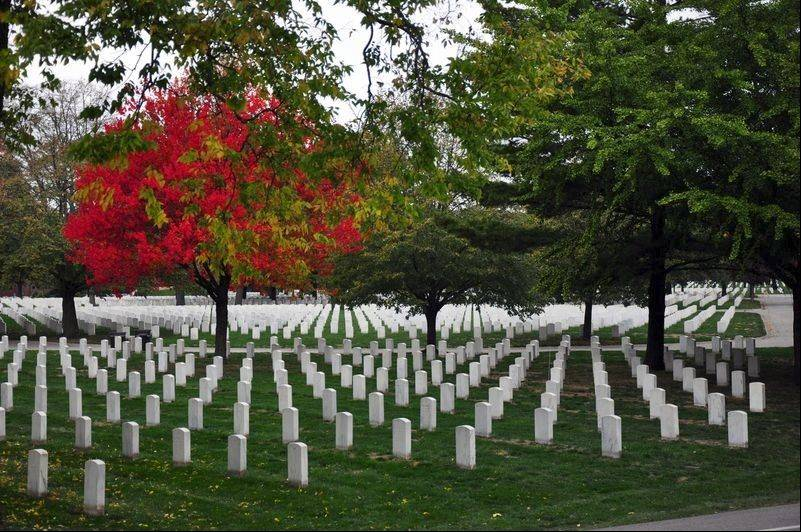 The National Cemetery at Rock Island Arsenal dates back to the Civil War.