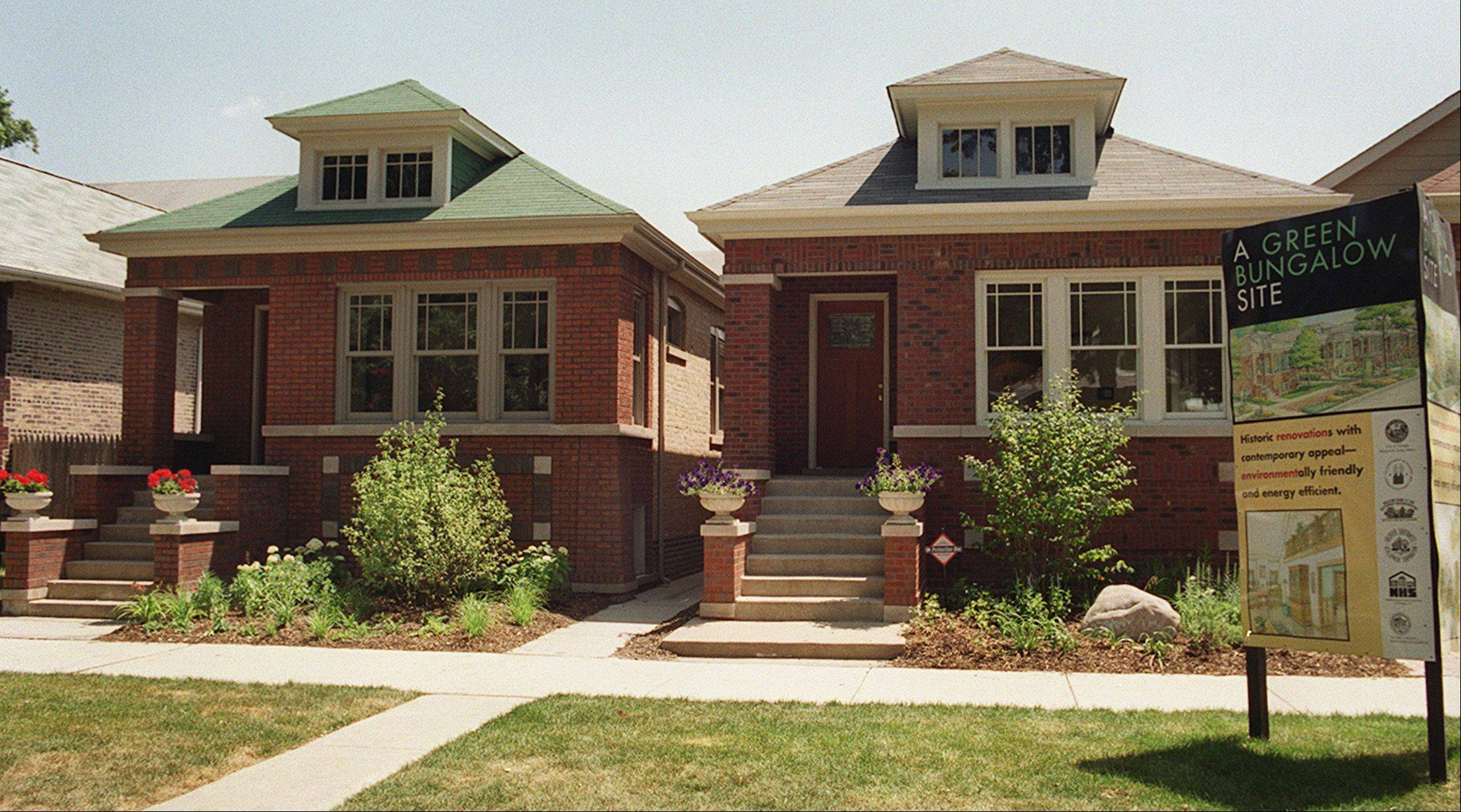 These bungalows in Chicago are a common style found throughout the city and suburbs.