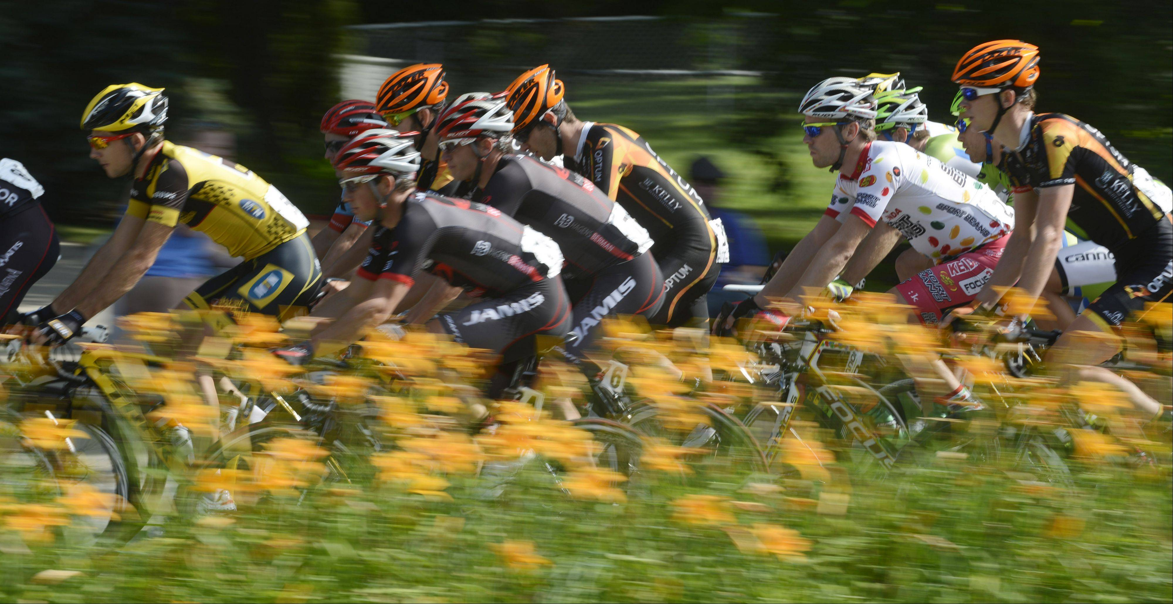 Cyclists compete in the Gullo International Pro Men Circuit Race, Stage 3, during the Tour of Elk Grove Sunday.