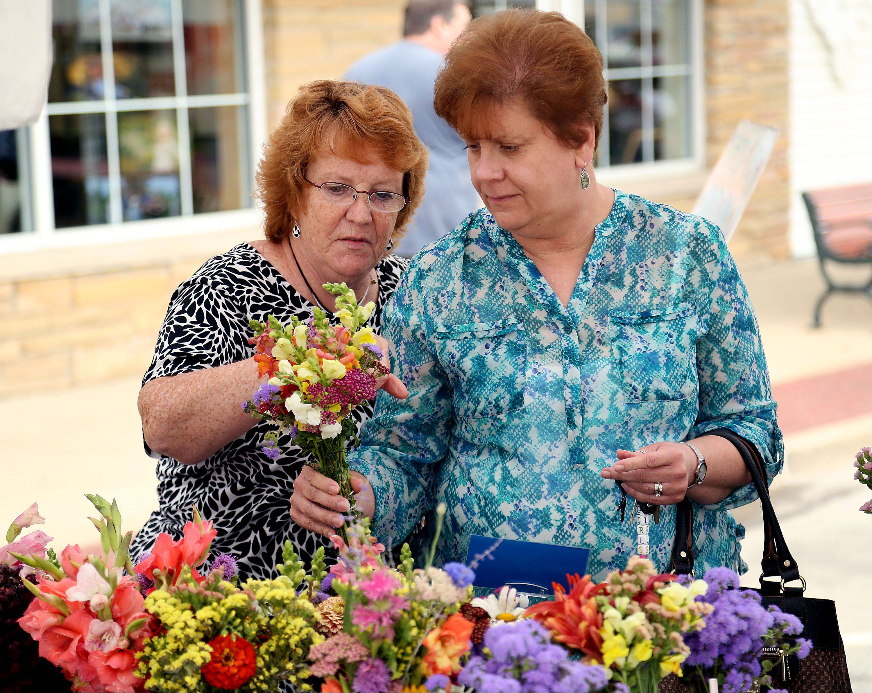 Karen Cook, left, and Emily Gardynski, both of Grayslake, look at flower bouquets during Grayslake's weekly farmers market along Center St. in downtown Grayslake Wednesday.