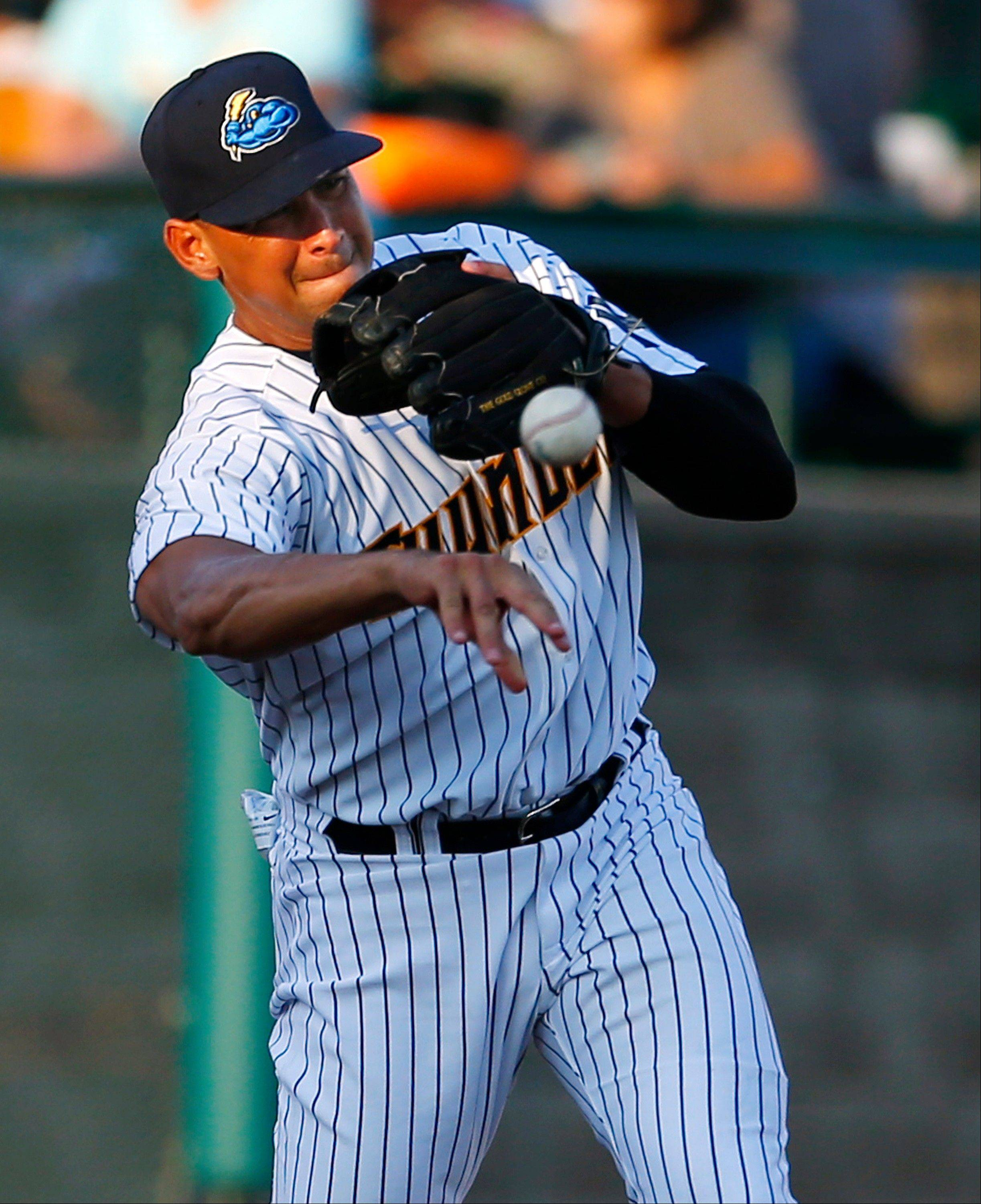 Alex Rodriguez, the biggest name in the Biogenesis case, throws to second base Saturday during a Class AA game in Trenton, N.J.
