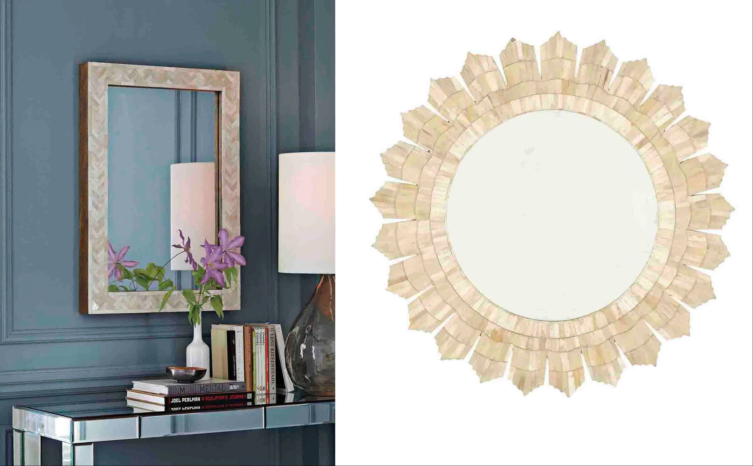 Entry mirrors can reflect light into a home as well as be pieces of art in their own right, such as this Parsons wall mirror with bone inlay from West Elm, left, and Ballard Designs� bone sunburst mirror, right.