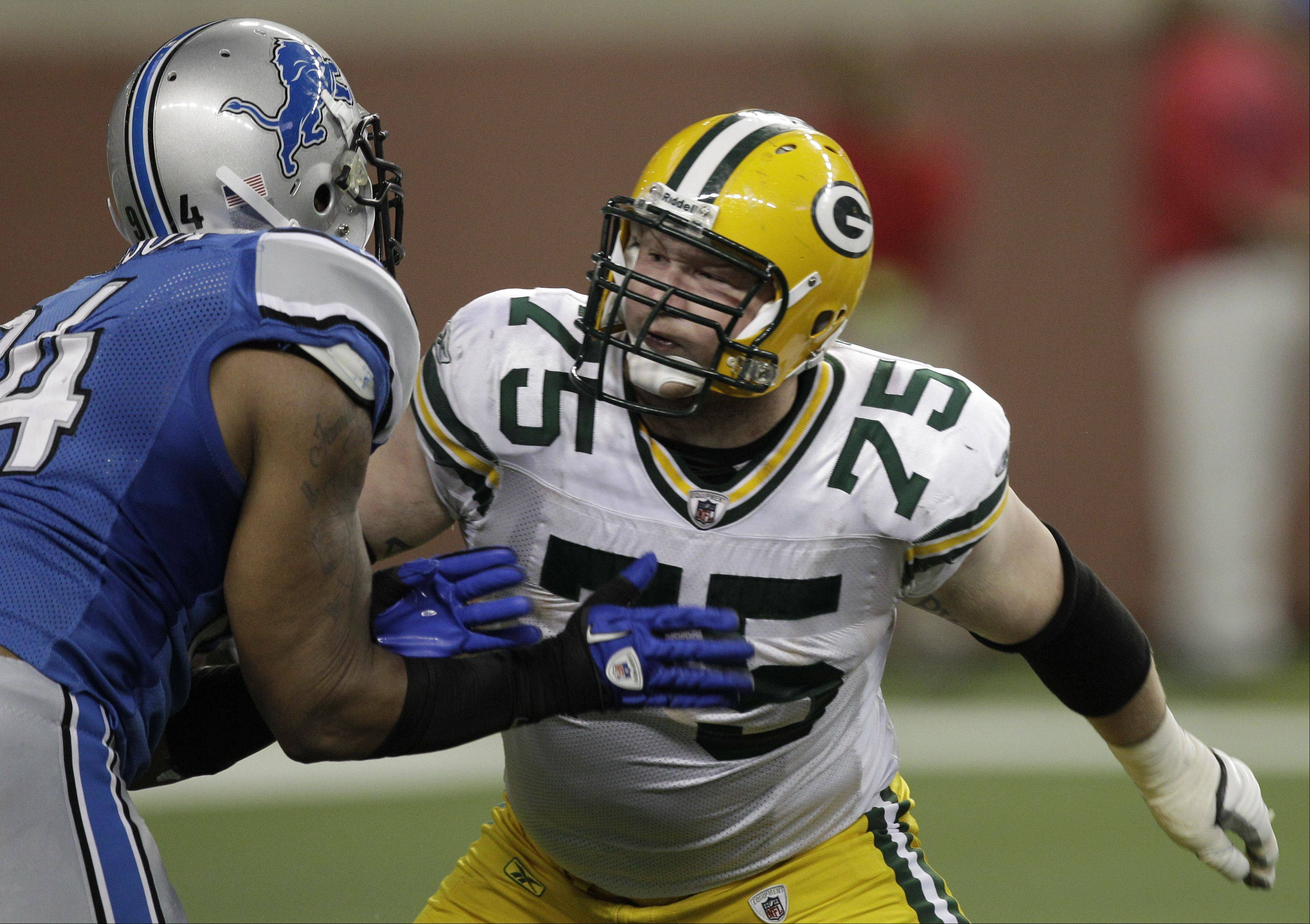 Green Bay Packers offensive tackle Bryan Bulaga (75) suffered a season-ending knee injury on Saturday. The Crystal Lake resident has started 33 games for the Packers since they drafted him in 2010 from the University of Iowa in the first round.