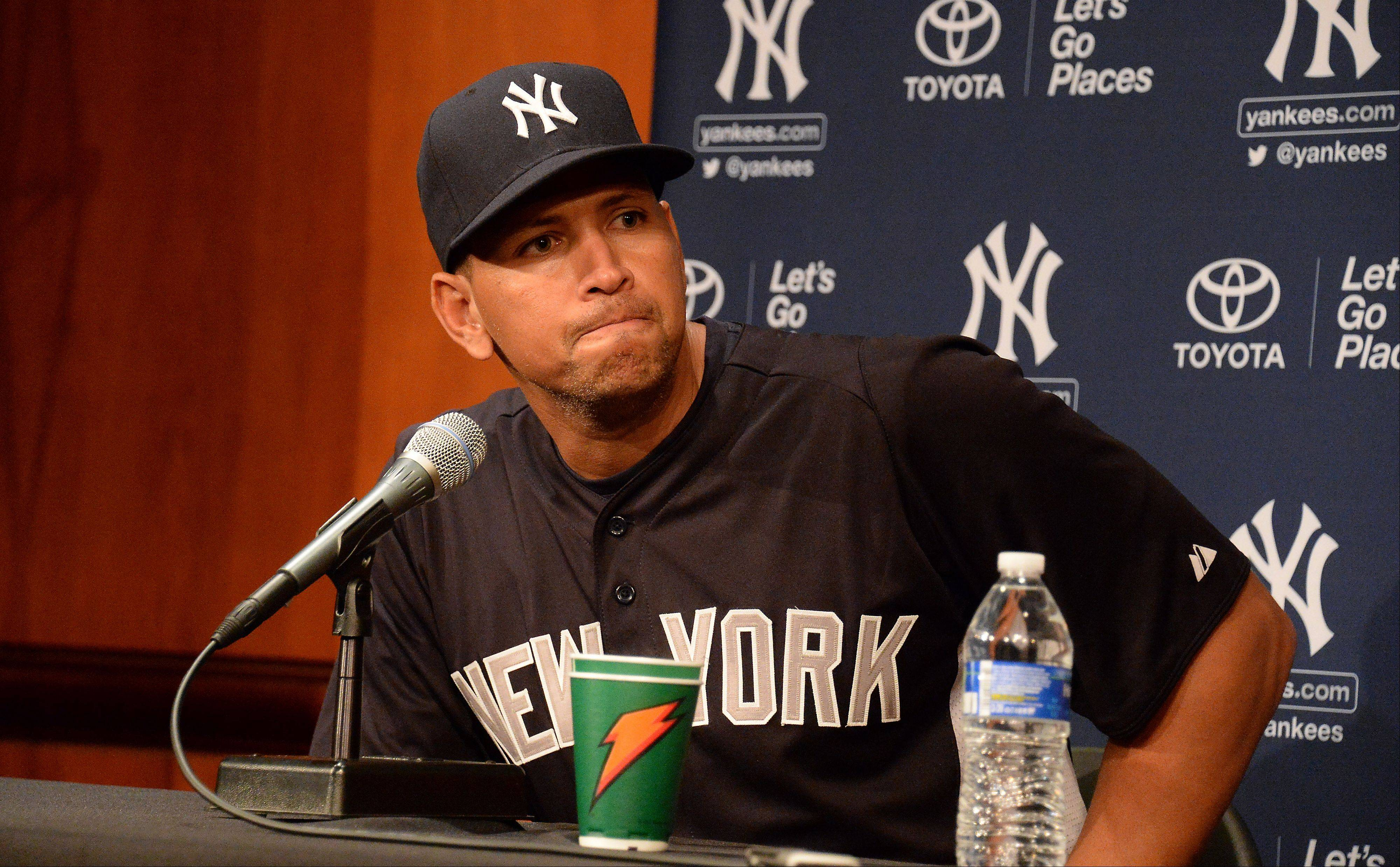 New York Yankees superstar Alex Rodriguez answers tough questions from the media Monday at U.S. Cellular Field in Chicago.