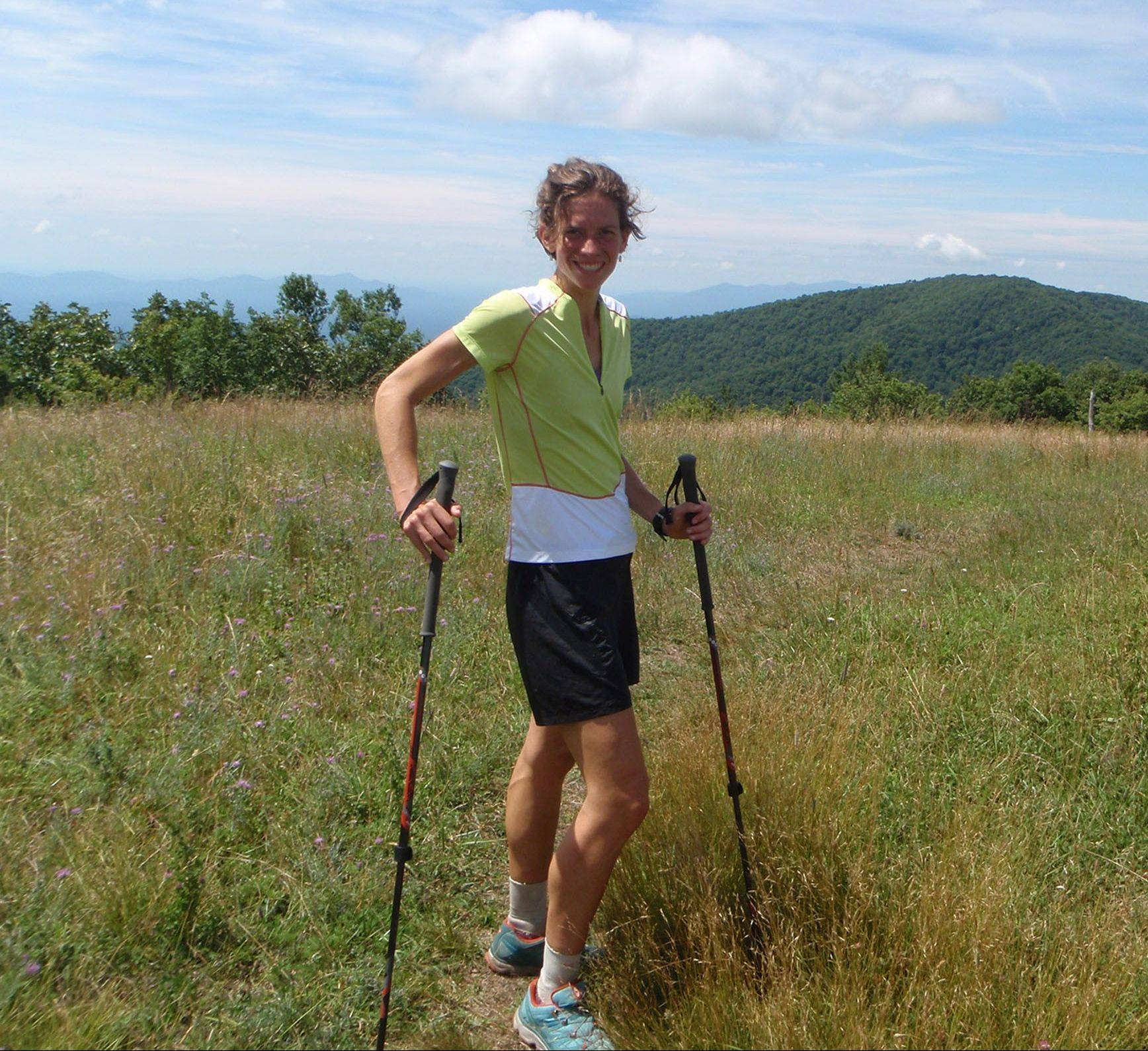 Jennifer Pharr Davis uses hiking poles to minimize the pressure on her joints. She hiked the Appalachian Trail in 46 days in 2011.
