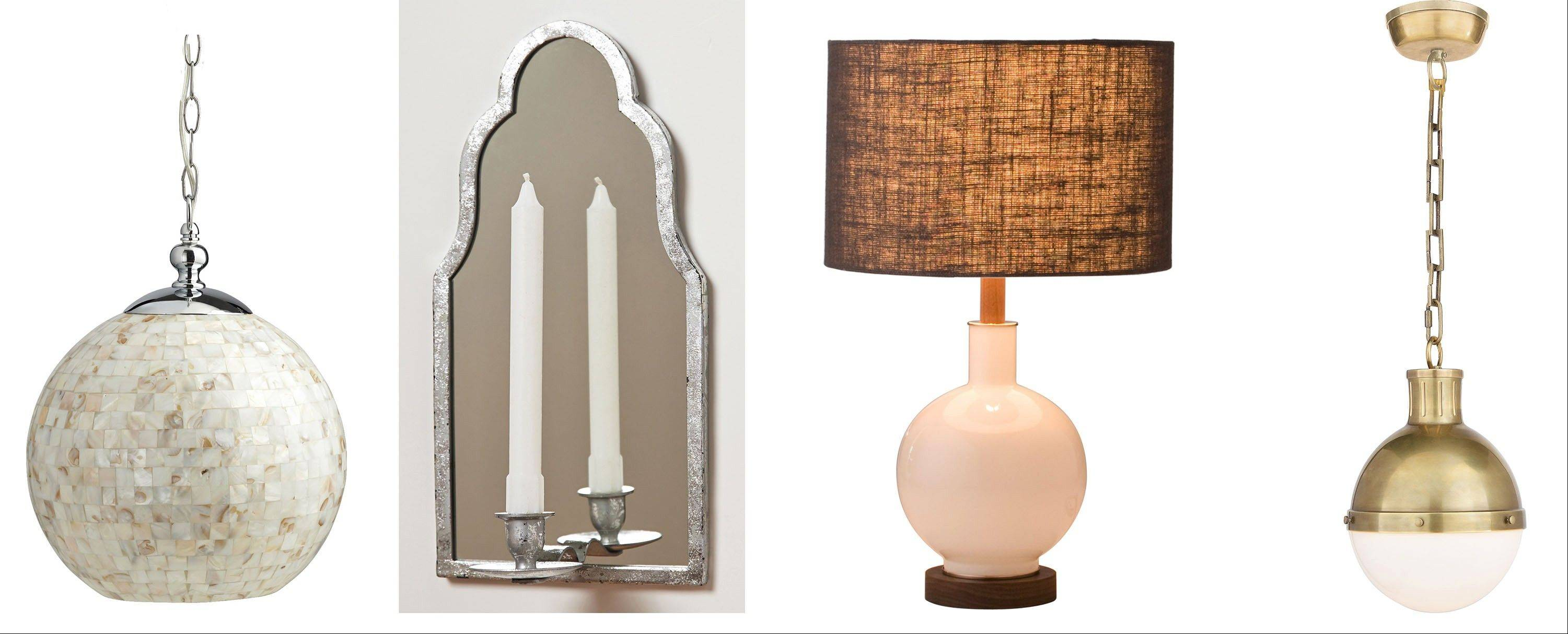 Good lighting in an entry is critical. From left, a mother-of-pearl hanging lamp from Pier 1 Imports; the Seaworn wall sconce from Anthropologie; the Bond opal table lamp and fabric shade; and Visual Comfort's small pendant by Thomas O'Brien in hand-rubbed antique brass with white glass.