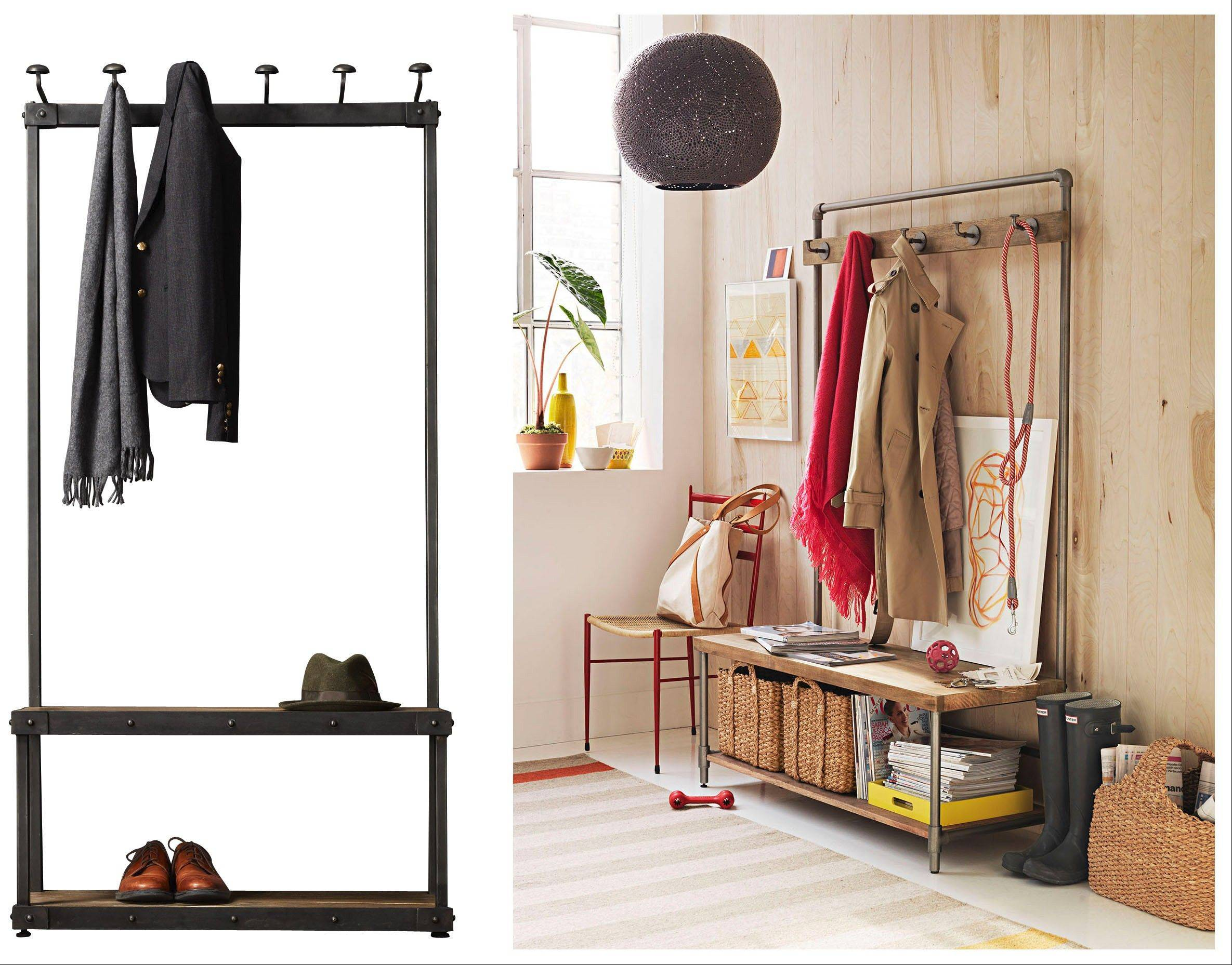 Corralling coats can tame the clutter in a foyer. At left, a coat rack bench from Restoration Hardware; at right, the Pipeline hall tree from West Elm.