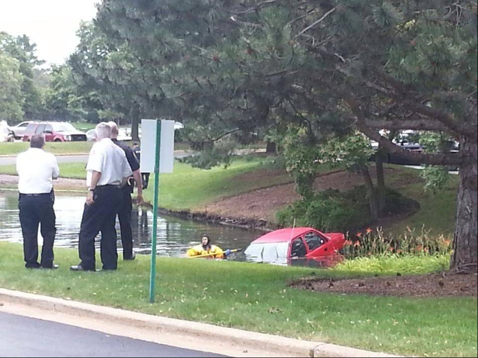 This car went into a pond near an office park in Arlington Heights Thursday morning, but no one was injured.