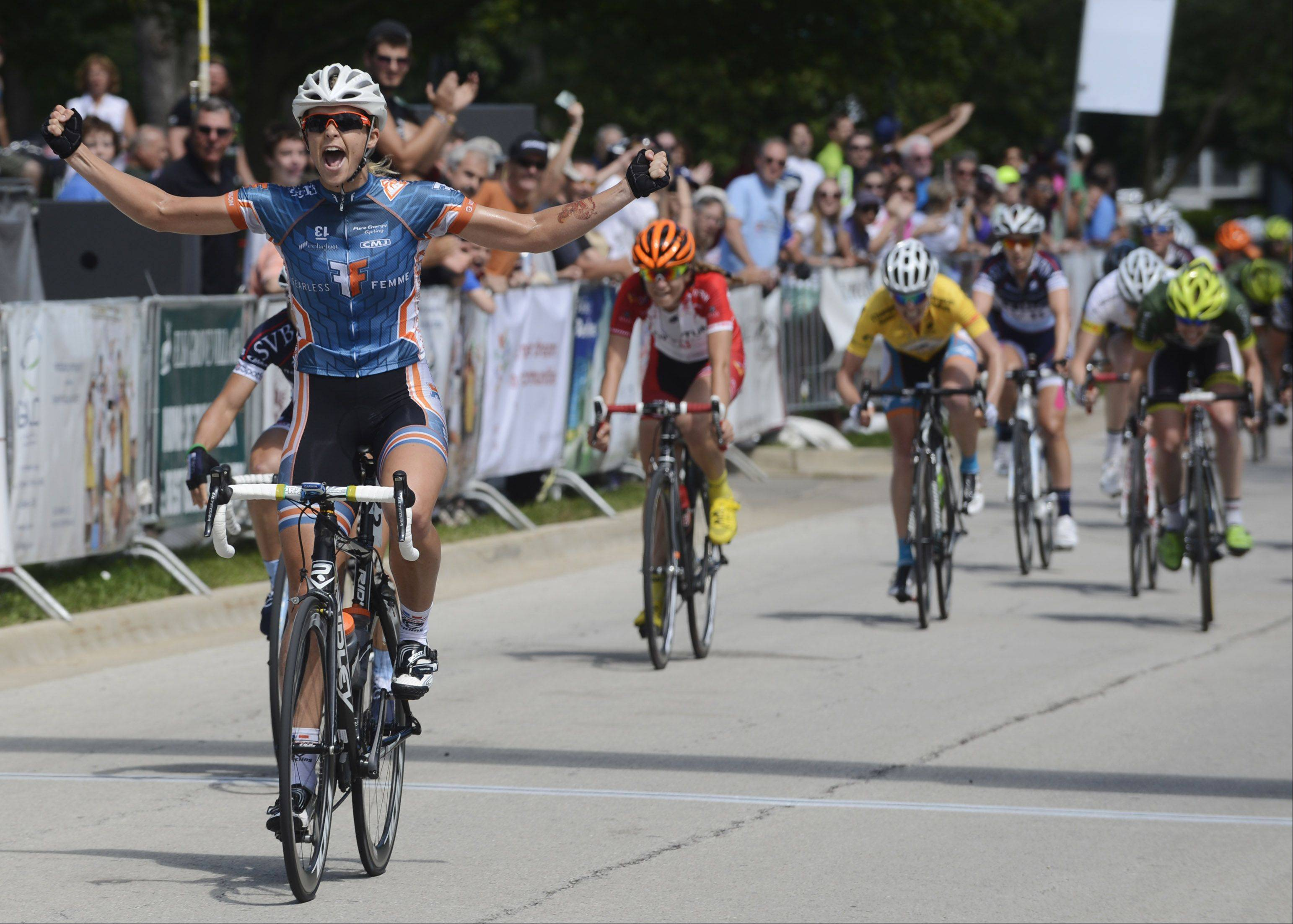 Kimberley Wells is the winner of stage 3 of the ComEd Women Pro Circuit Race during the Tour of Elk Grove Sunday.