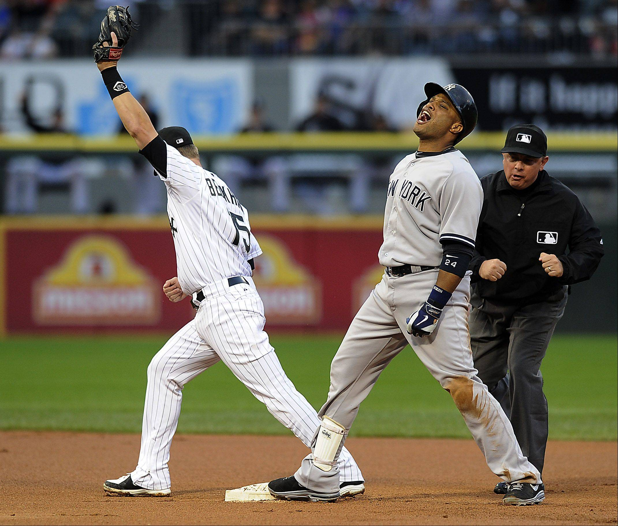 New York YankeesRobinson Cano reacts to being tagged out at second by White Sox's Gordon Beckham.