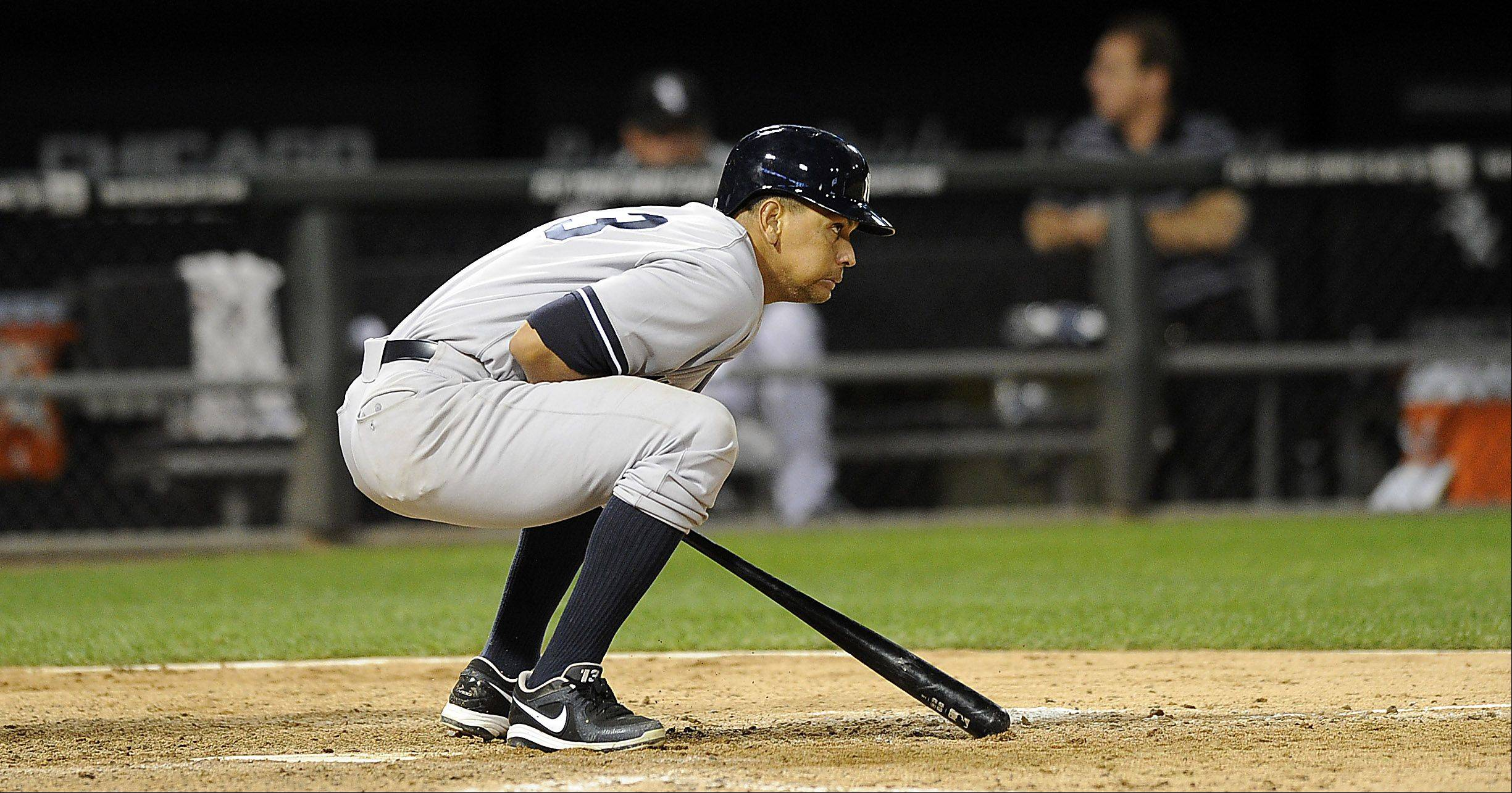 New York Yankees Alex Rodriguez reacts to a pitch in the 8th inning.