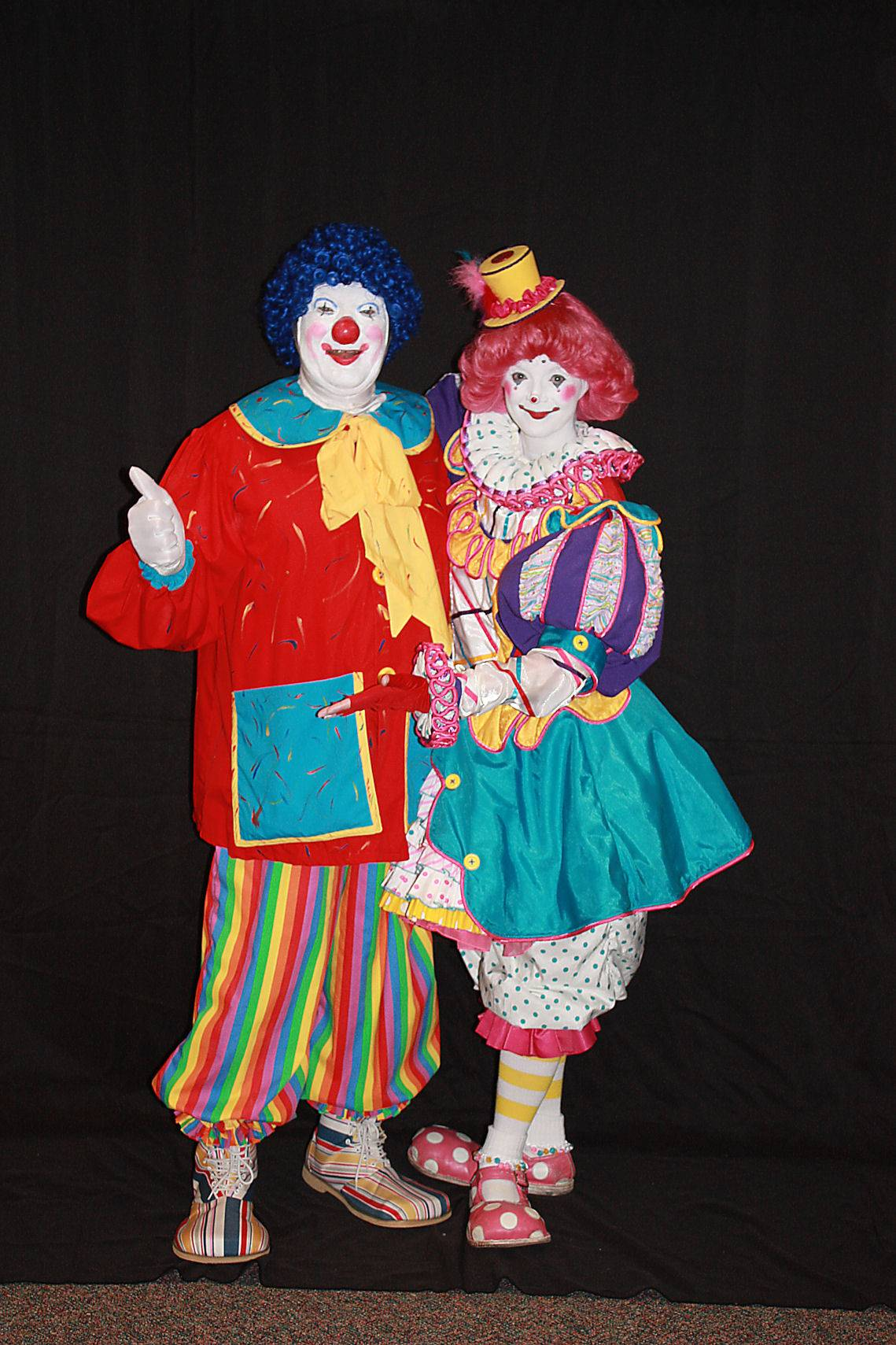 "Jack Kramer (""Polyester"") with Tricia Manual (""Pricilla Mooseburger""), a former Ringling Brothers clown who founded the Mooseburger Clown Arts Camp"