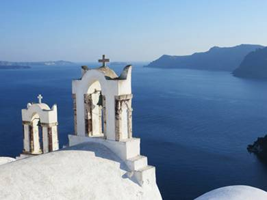 "The beautiful island of Santorini will be among sites included in ""A Taste of the Greek Islands"" on Aug. 8 at the Addison Public Library."