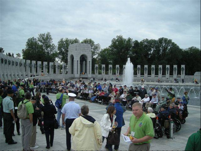 Veterans gather at the World War II Memorial in Washington D.C. during an Honor Flight Chicago trip.