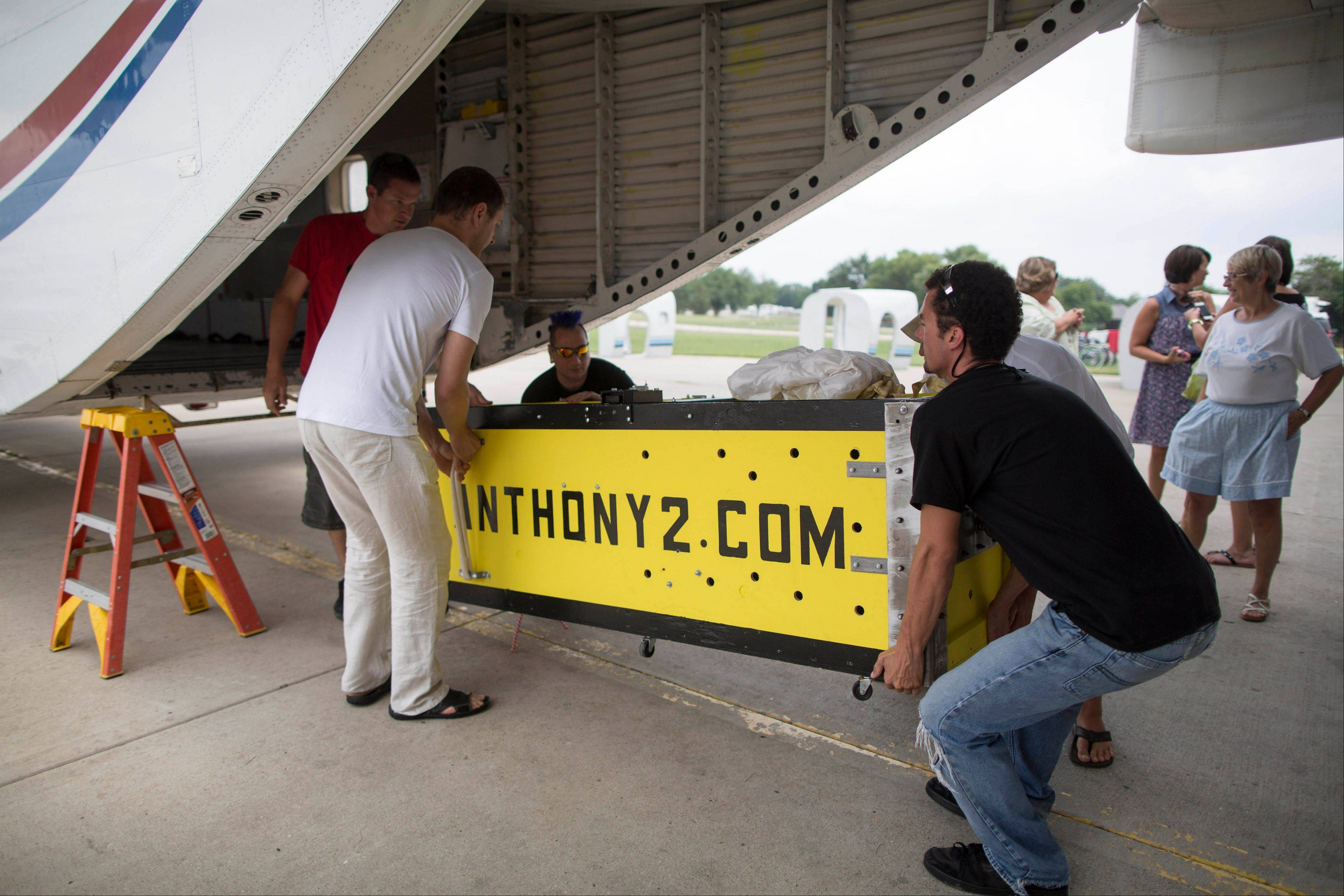 Escape artist Anthony Martin was handcuffed and locked inside this box before being dropped from an airplane on Tuesday.