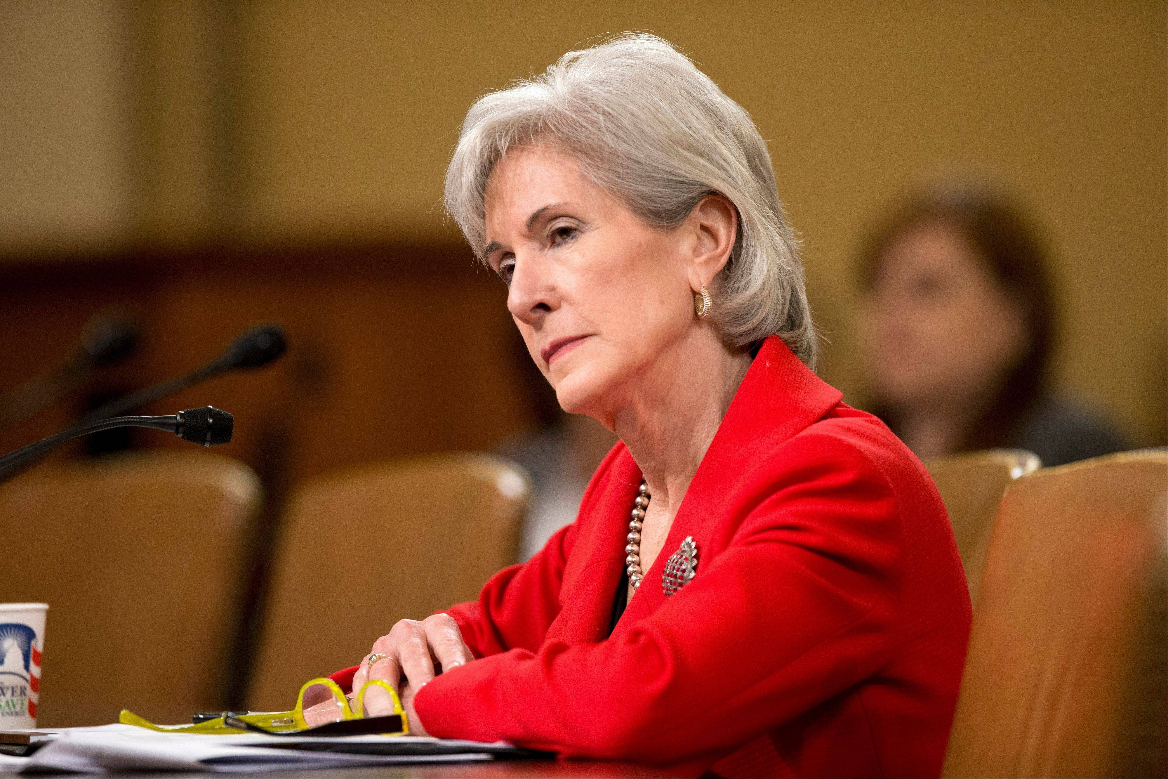 In this April 12, 2103 file photo, Health and Human Services (HHS) Secretary Kathleen Sebelius testifies on Capitol Hill in Washington. Just eight weeks remain before uninsured Americans can start shopping online for subsidized health insurance under the president�s overhaul. Sebelius said Monday consumers can now go online to healthcare.gov and create personal accounts by establishing a username and password.