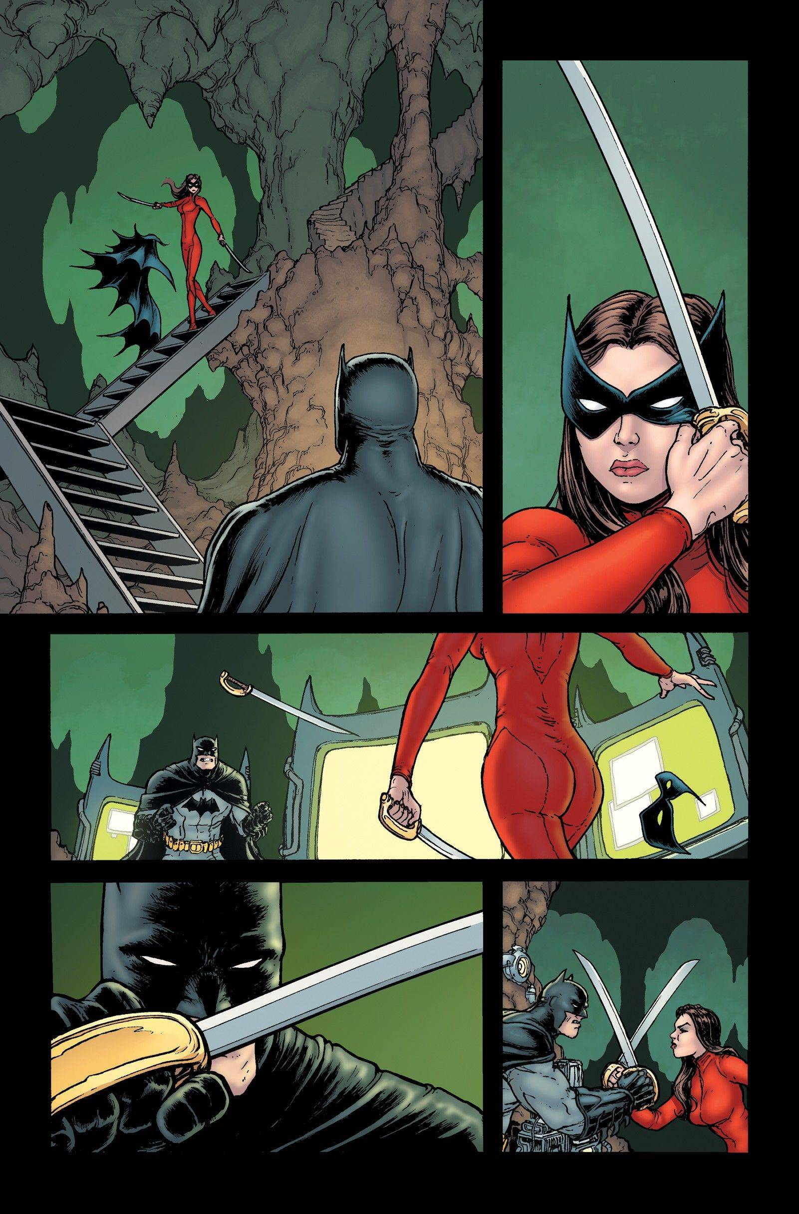 "A finished page, drawn by Chris Burnham, from the final issue of ""Batman, Incorporated,"" the book that helped launch Burnham's career."