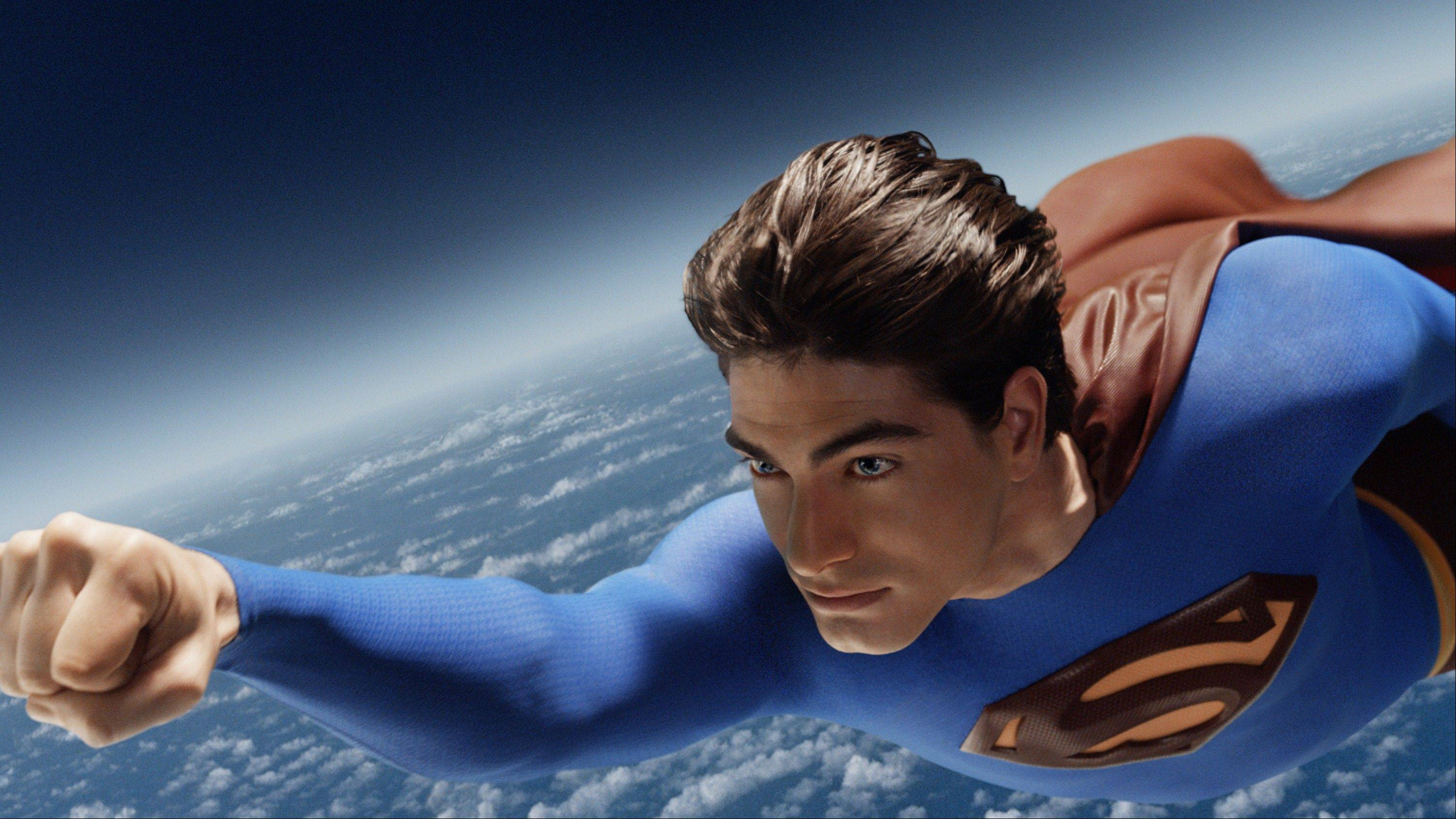 "Superman (Brandon Routh) races across the sky in Warner Bros. Pictures' action adventure movie, ""Superman Returns."""