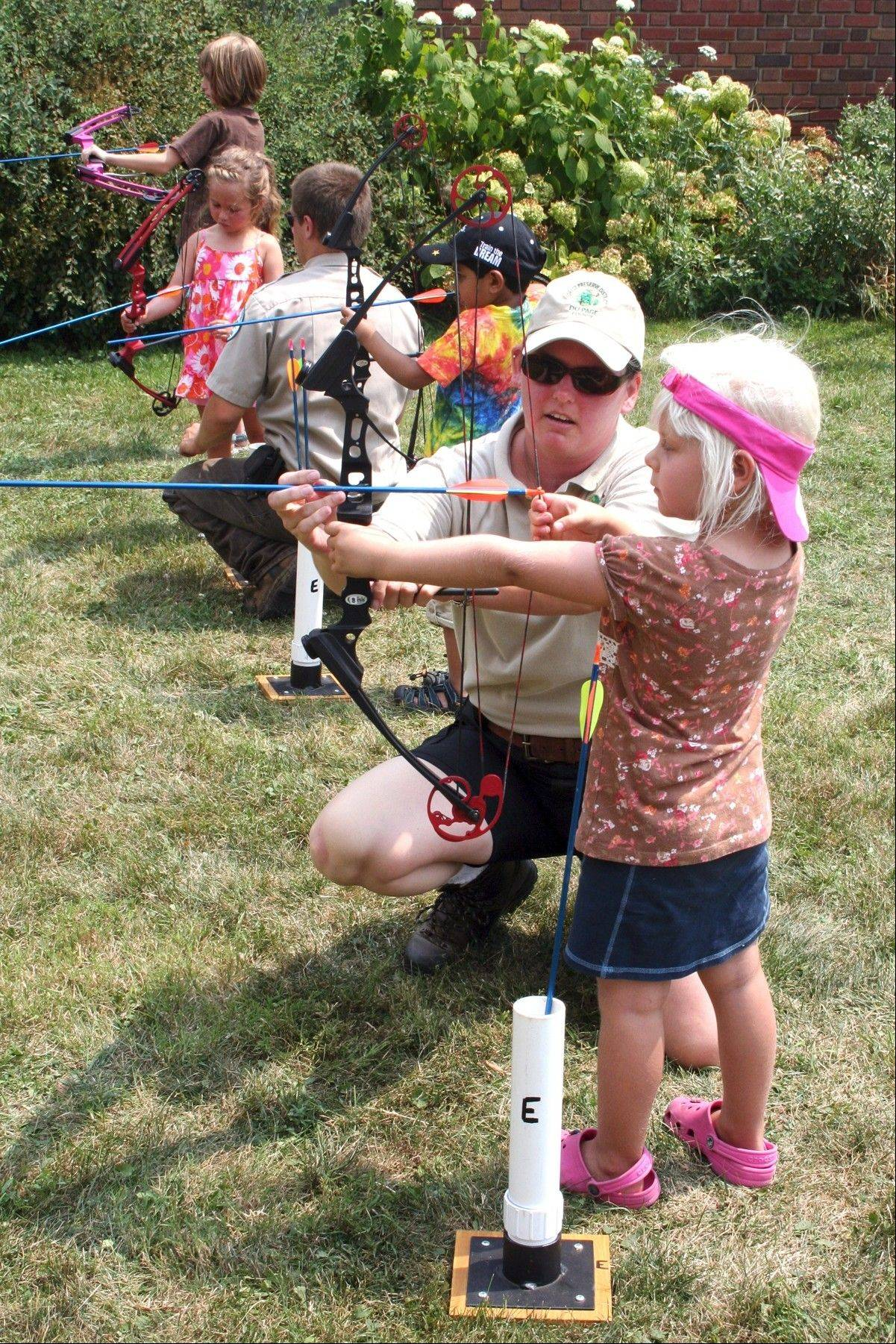 Kids can get lessons in archery as part of Family Day at the Mayslake Peabody Estate in Oak Brook.