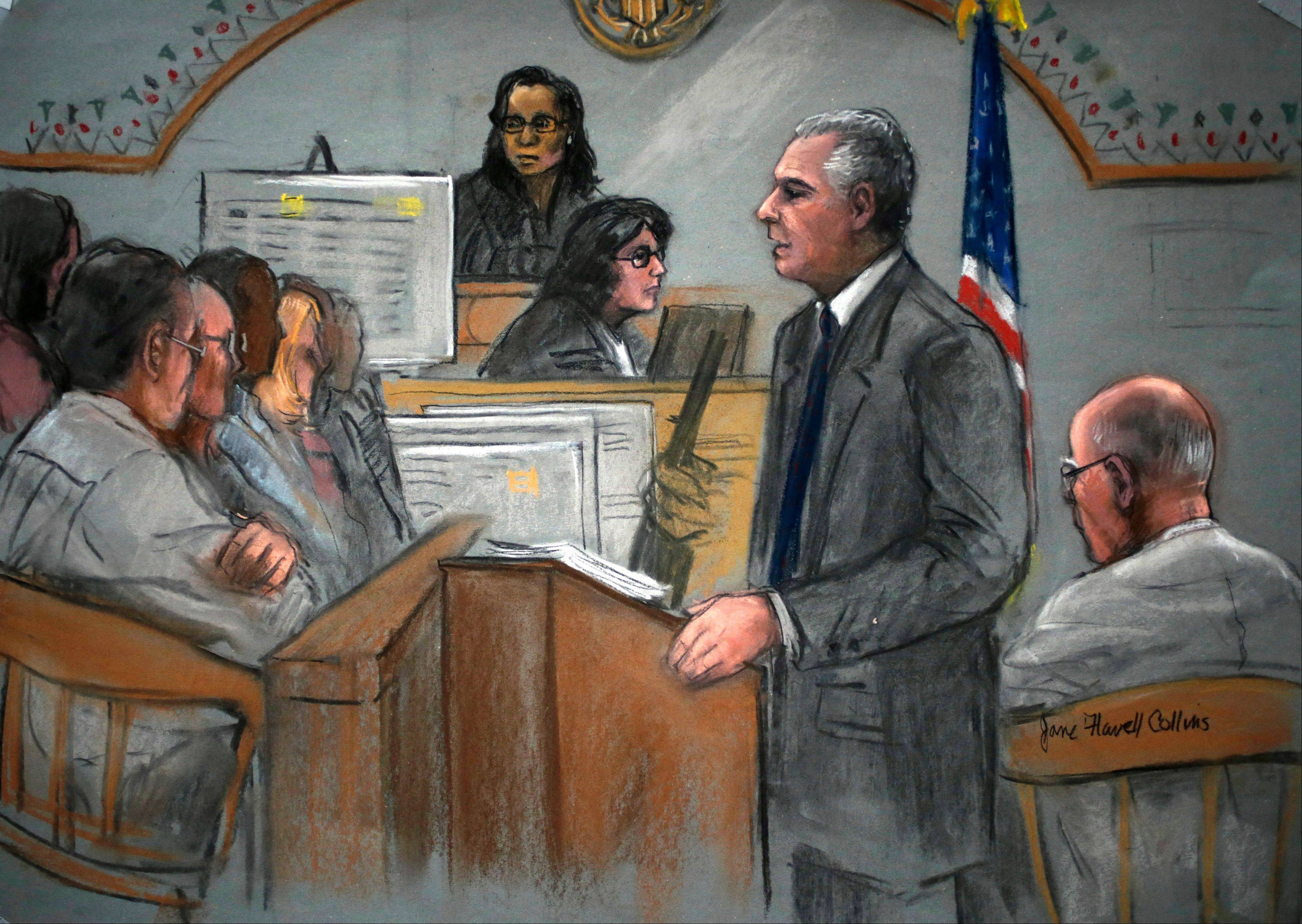 "In this courtroom sketch, prosecutor Fred Wyshak, standing, speaks during closing arguments in the trial of James ""Whitey"" Bulger, right, at U.S. District Court, in Boston, Monday, Aug. 5, 2013. A federal prosecutor summed up the government's case by calling Bulger ""one of the most vicious, violent and calculating criminals ever to walk the streets of Boston,"" and urged the jury to convict him of charges that include 19 killings committed during the 1970s and '80s."