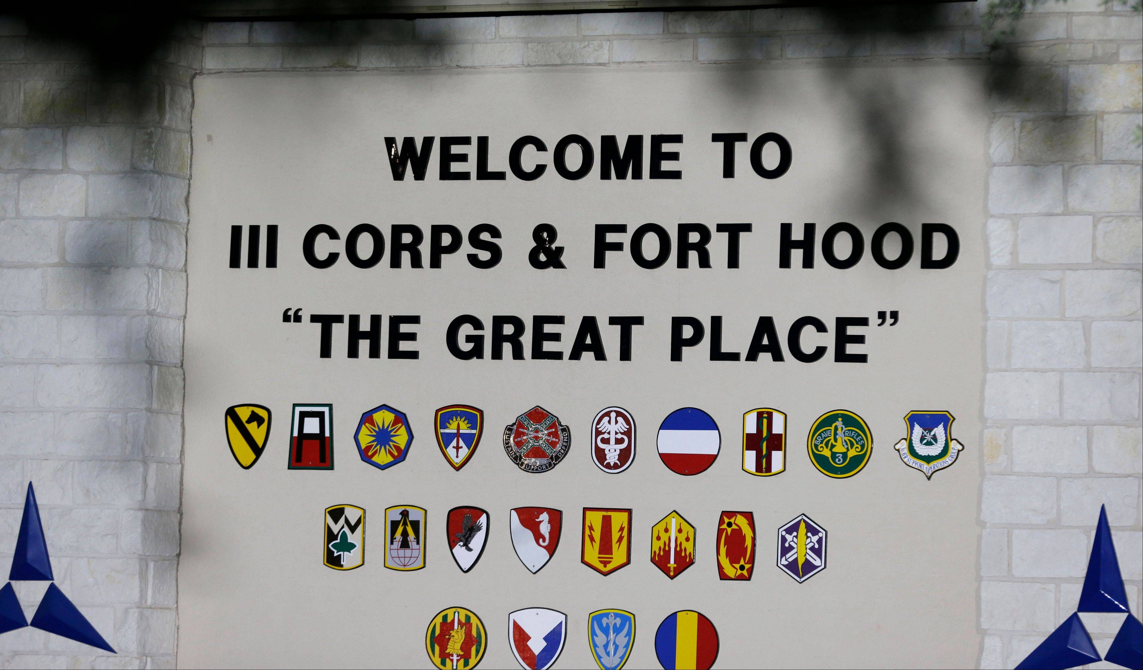 The main entrance of the Army base is shown where the start of the court-martial of Maj. Nidal Malik Hasan is taking place Tuesday, Aug. 6, 2013, in Forth Hood, Texas.