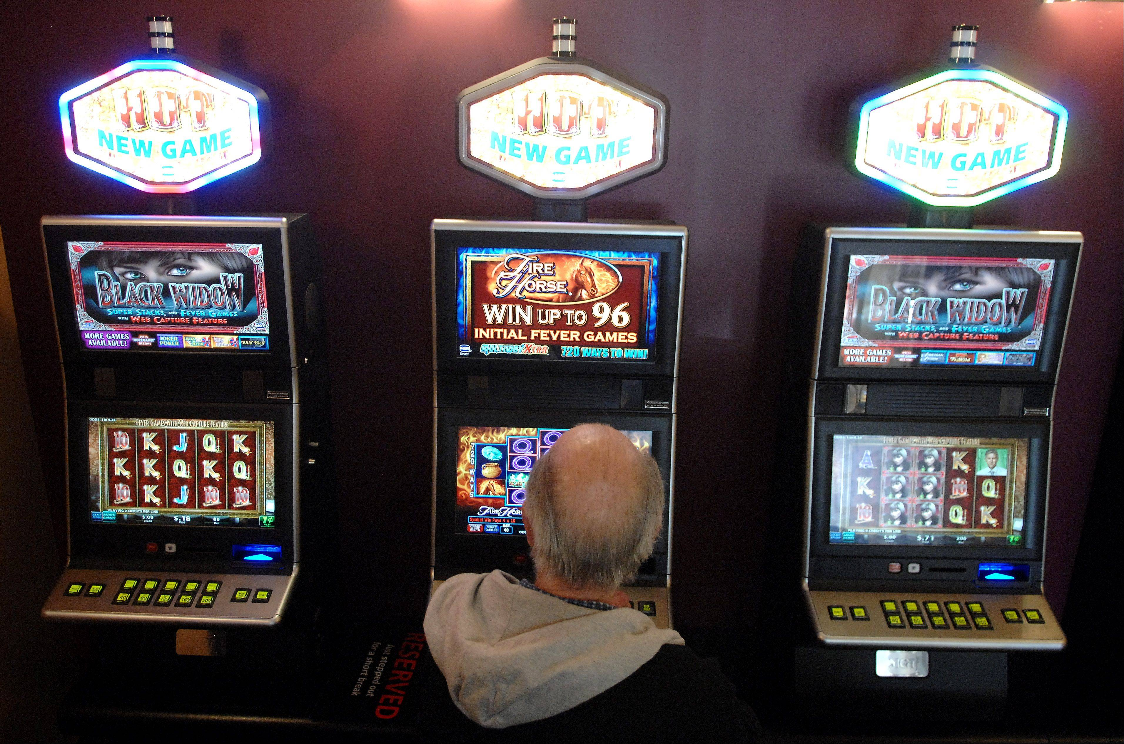 A man plays a video gaming machine at Rosati's in Lakemoor this past spring.