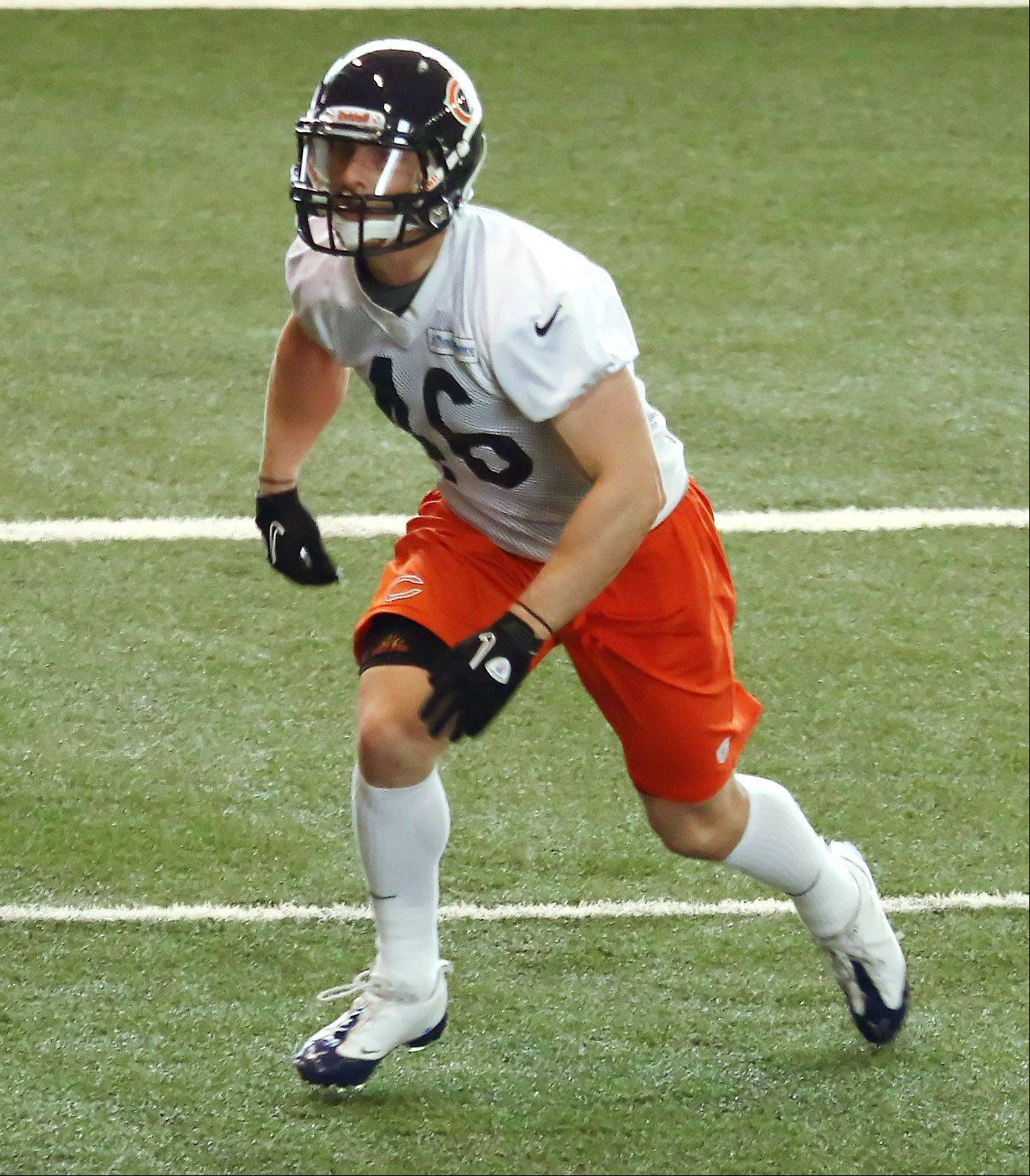 Safety Tom Nelson, shown here in Bears minicamp earlier this year, is fighting for a roster spot.