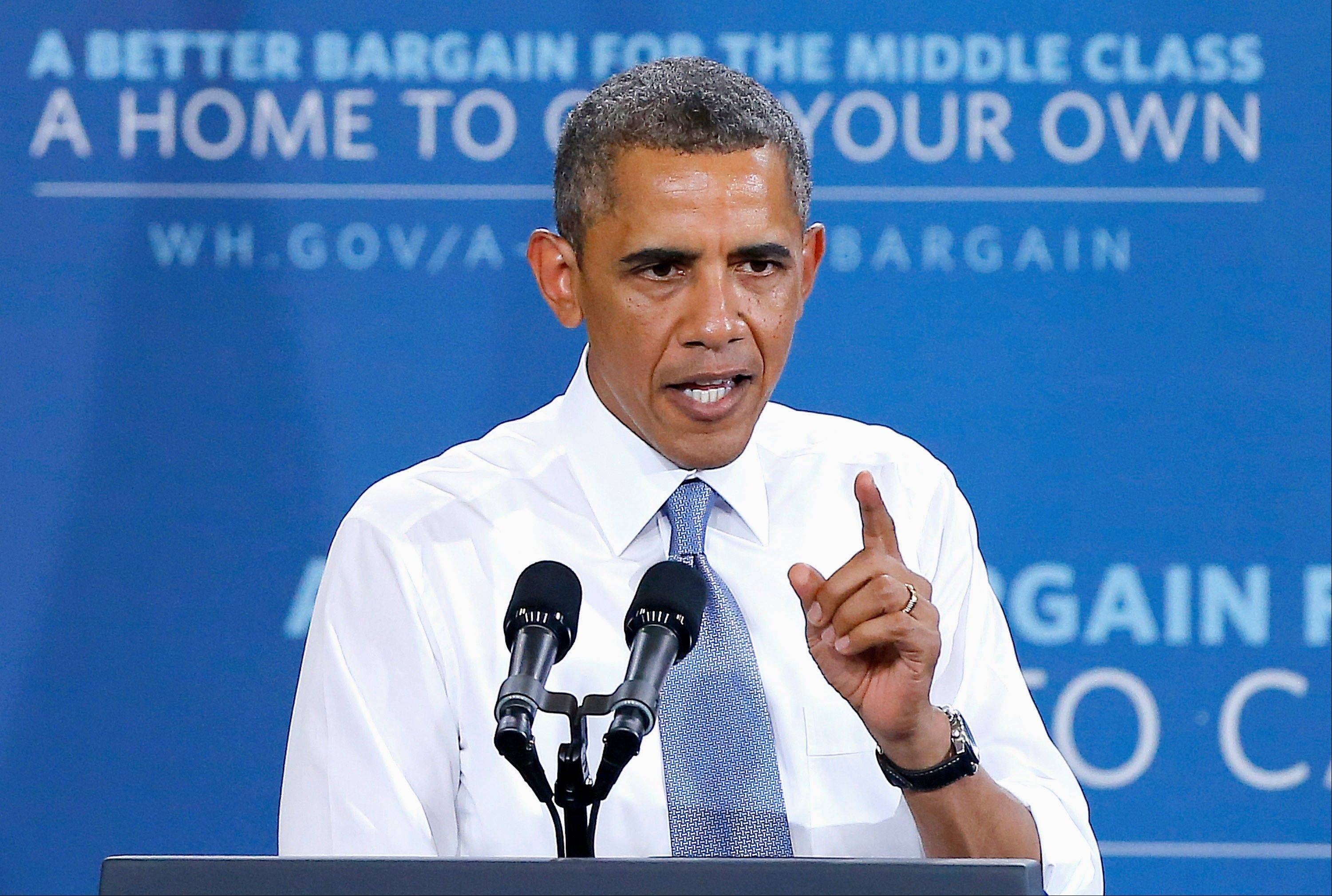 President Barack Obama speaks about housing, Tuesday in Phoenix. Homebuyers could feel the pinch if Congress follows through on proposals to shut down Fannie Mae and Freddie Mac, the government-run mortgage guarantee giants that were rescued by a $187 billion taxpayer bailout during the financial crisis.
