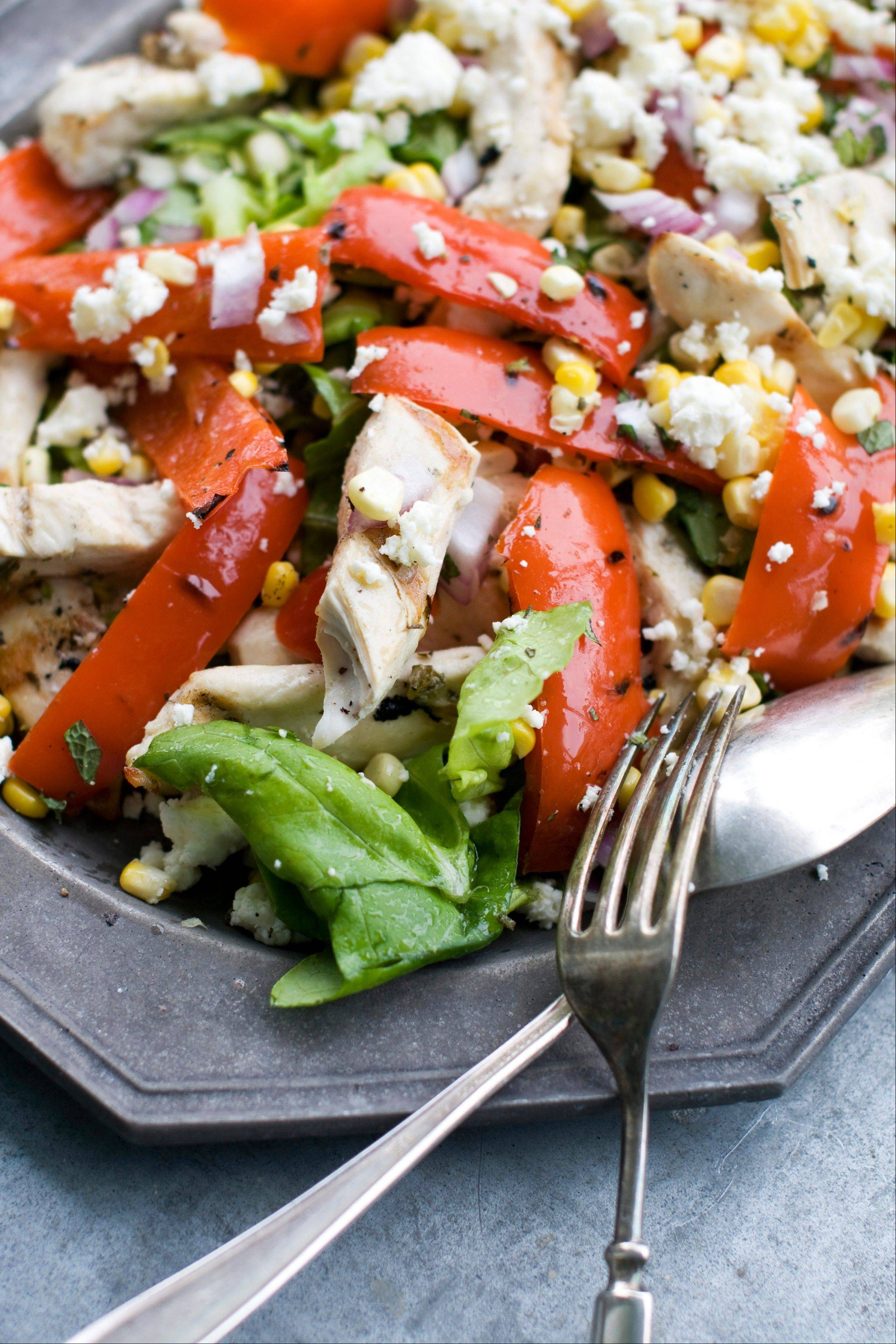 Feel free to adapt this grilled Greek chicken salad to ingredients on hand and to personal preference.