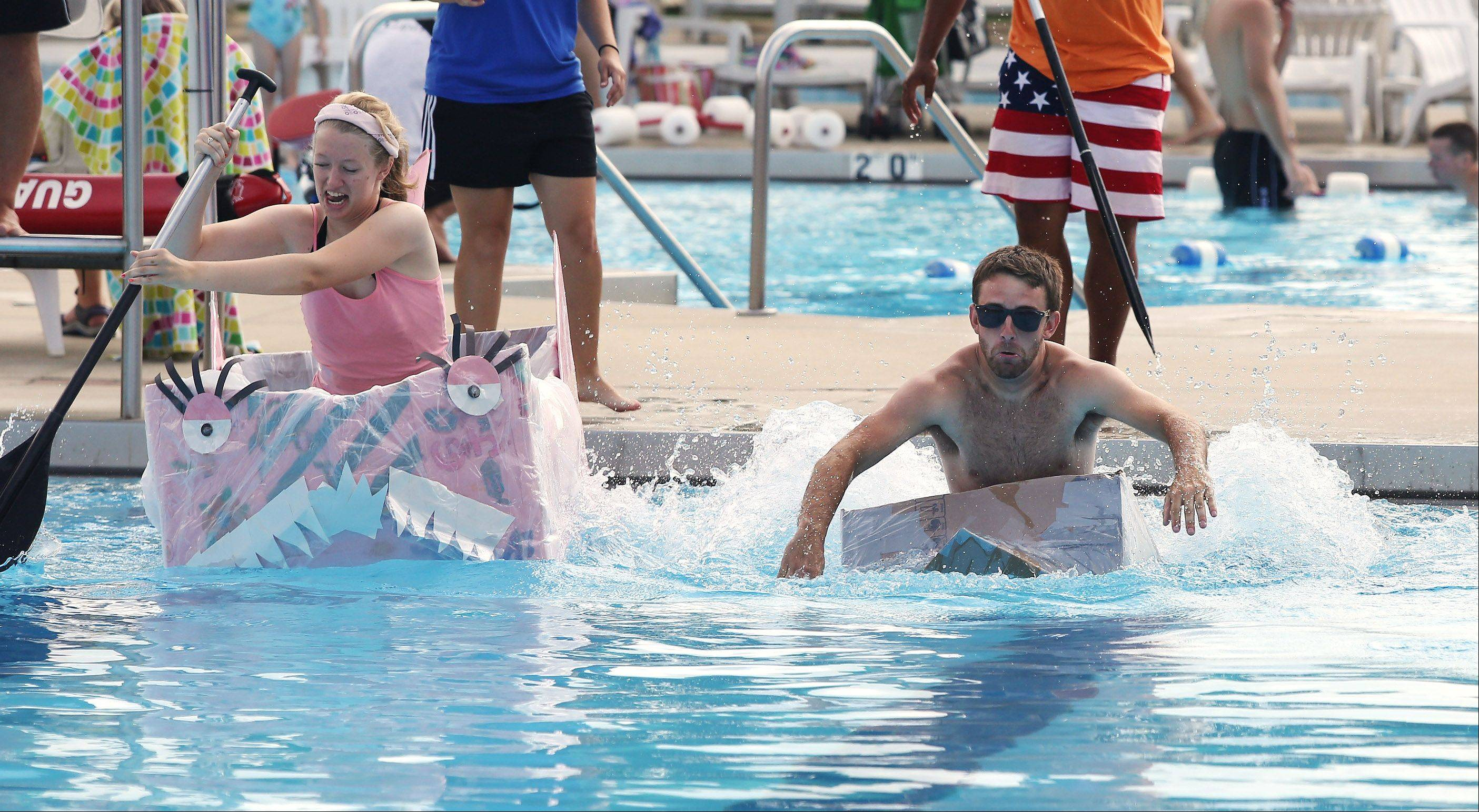 Camp counselor Jamie Vincent goes down with his ship, but Julia Wilson and her pink boat look seaworthy.