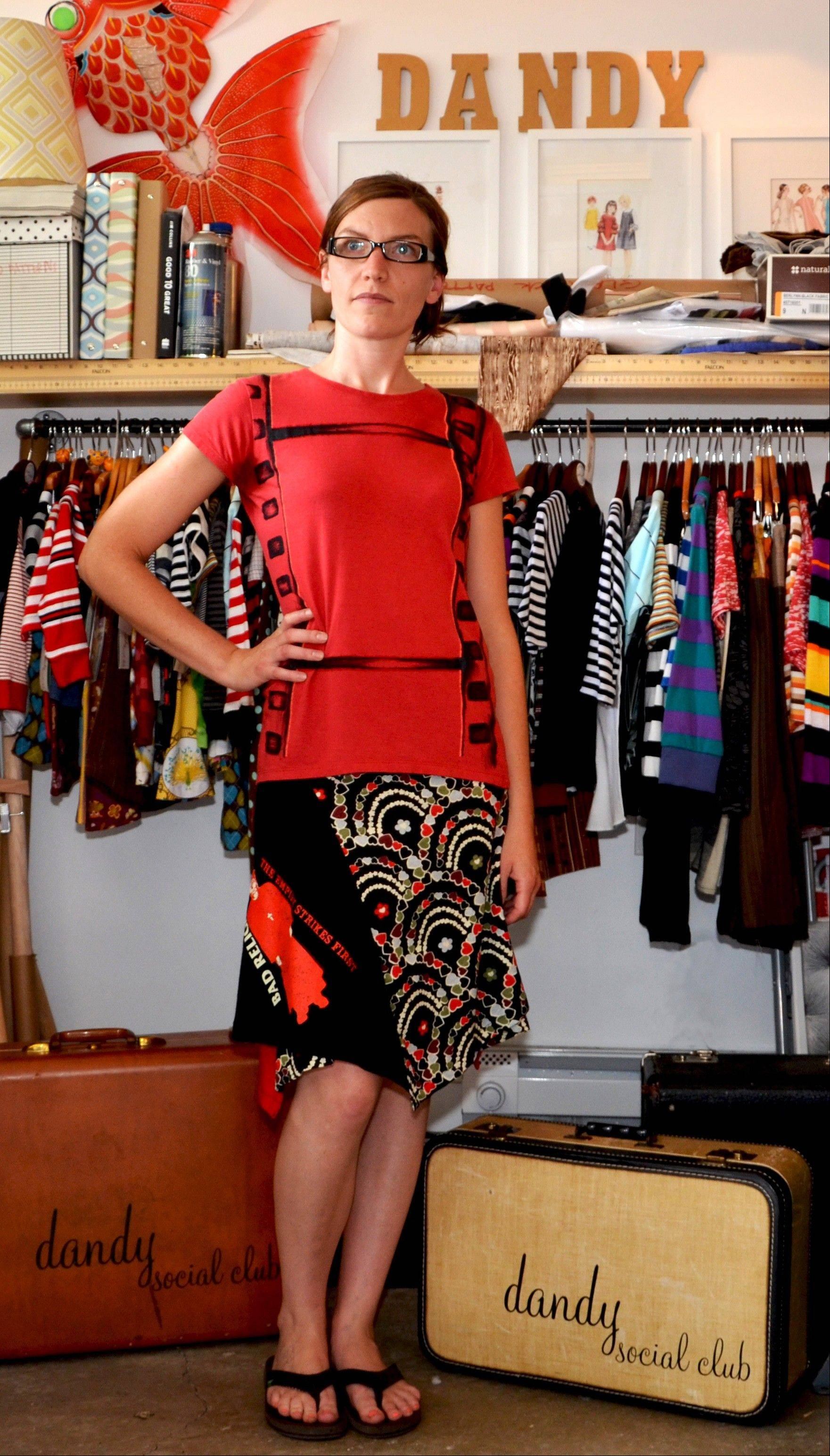 A skirt made of a T-shirt and other fabrics are sewn together to create swishy skirts. T-shirts from bands of the '80s, punk rock and the Beatles sell the best at craft shows.
