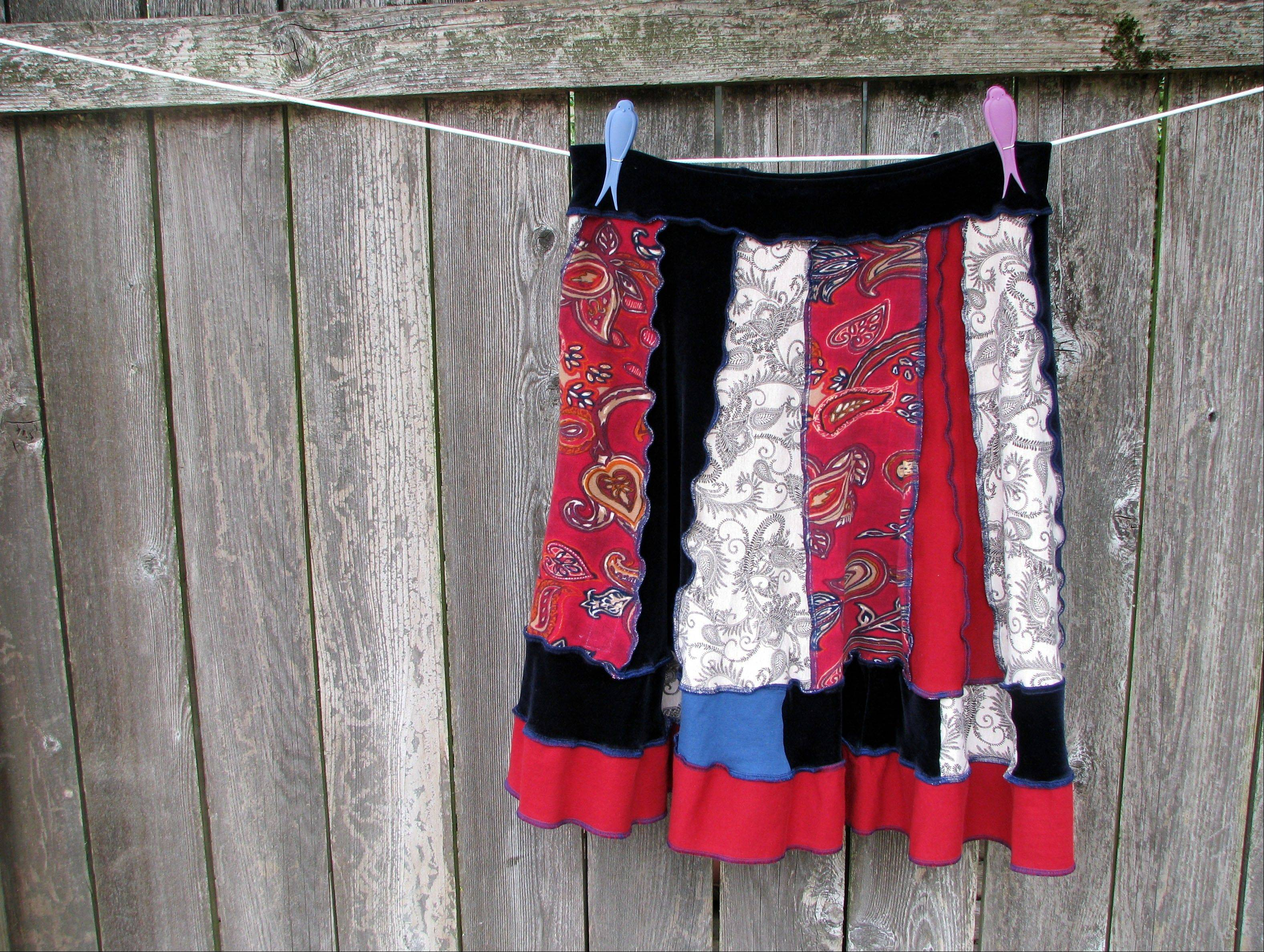 A skirt sewed together with panels of T-shirt and other fabrics in Salem, Ore.