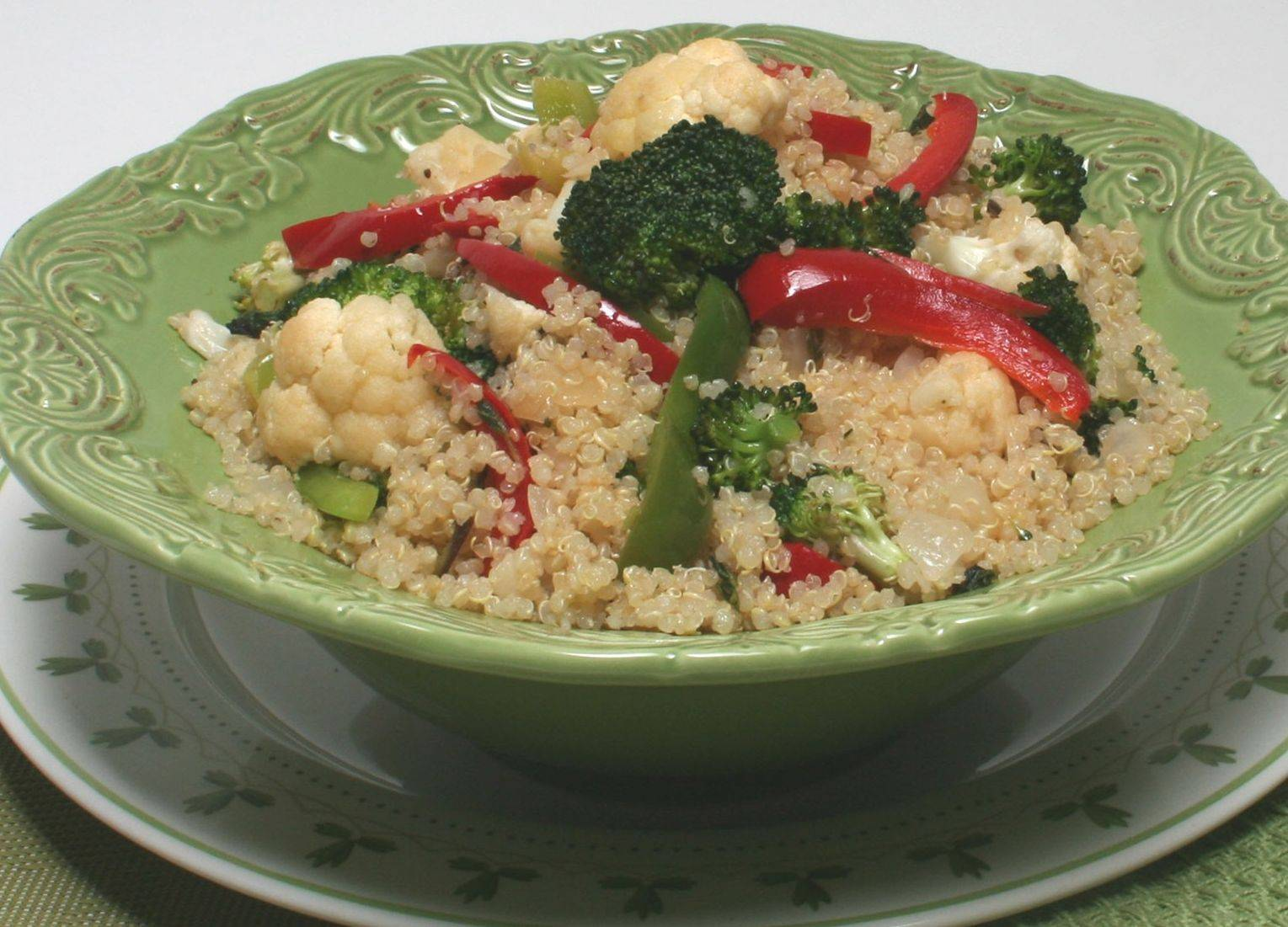 Cauliflower, broccoli and quinoa combine for a filling and nutritious dish.