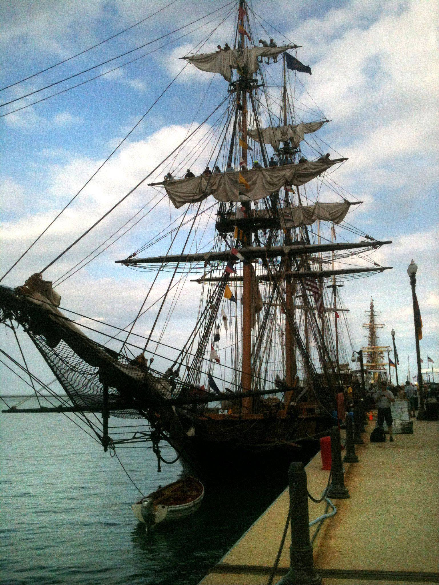 The Flagship Niagara, from Erie, Pa, is docked off Navy Pier in Chicago as the Tall Ships Chicago festival begins Wednesday. The festival, featuring the ships as well as the Chicago Match Cup sailing race, plus entertainment and activities for kids, runs through Sunday.