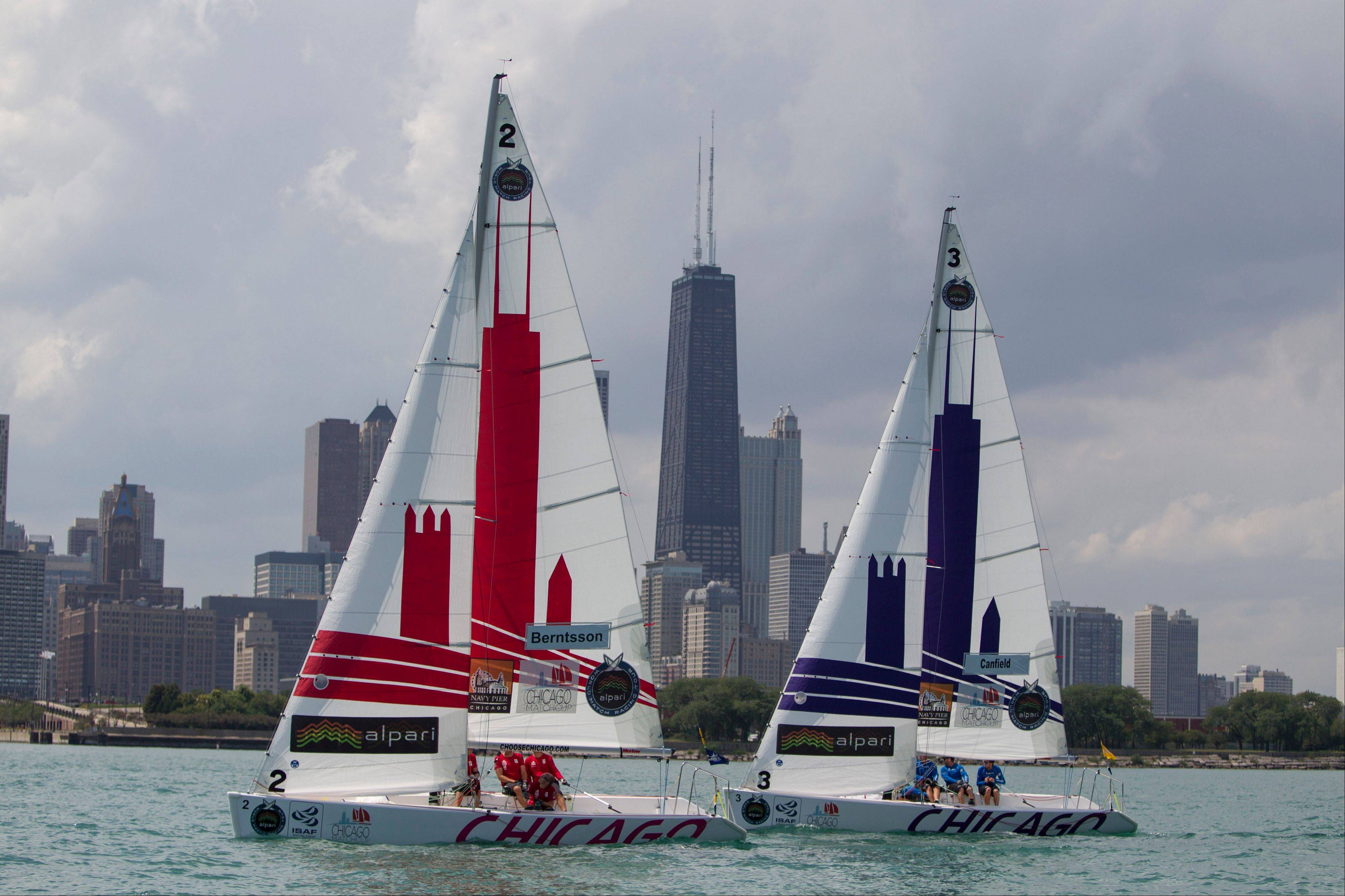 Sailboats sail in the Chicago Match Race compete near Navy Pier, Wednesday in Chicago.