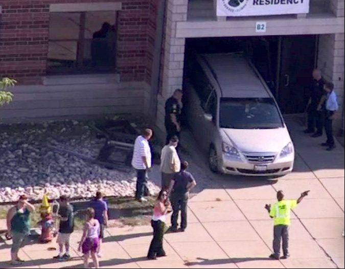 An 11-year-old boy was injured Wednesday afternoon after a minivan struck the north entrance of Woodland Middle School in Gurnee, according to officials.