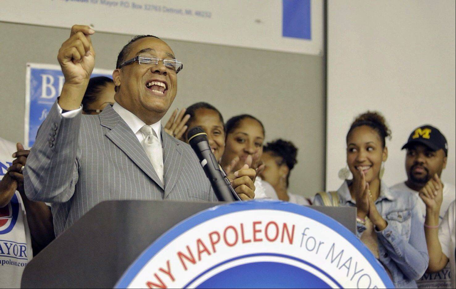 Detroit mayoral candidate Benny Napoleon addresses supporters after the final primary election results continue to come in at the Michigan Conference of Teamsters Welfare Fund building in Detroit on Tuesday, Aug. 6, 2013.