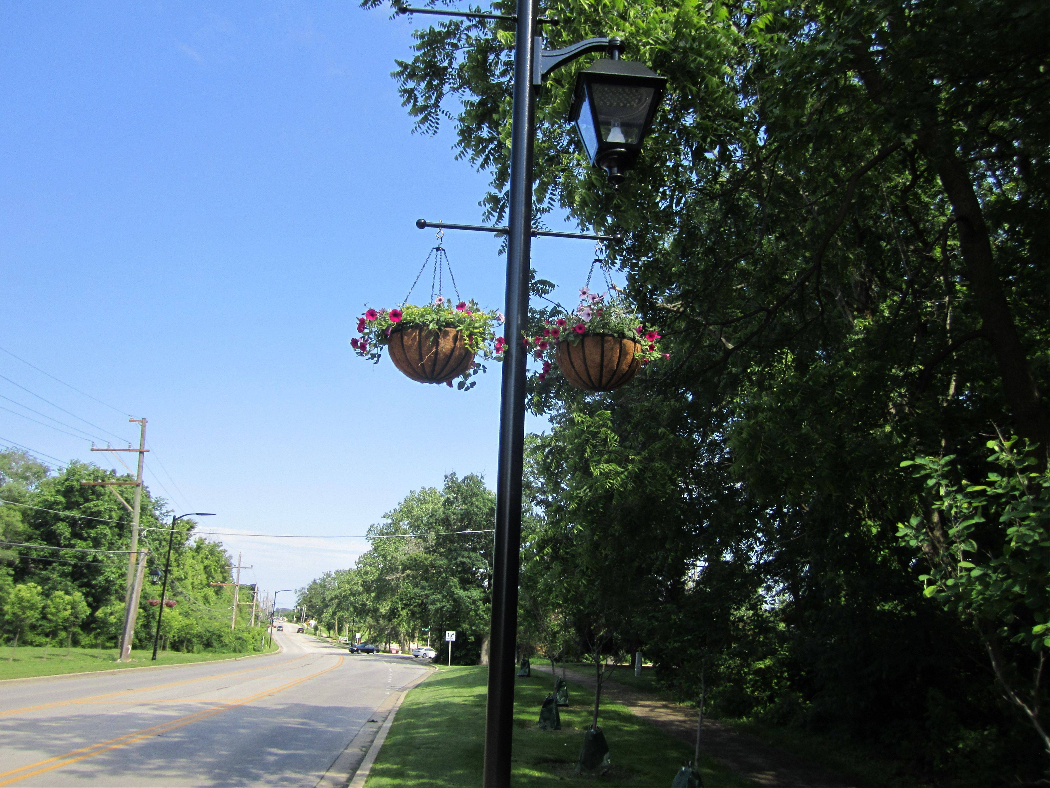 Bartlett has spent more than $800,000 upgrading the streetscape on West Bartlett Road to create an inviting entrance to the downtown. This shows the flower baskets that are part of new streetlights.