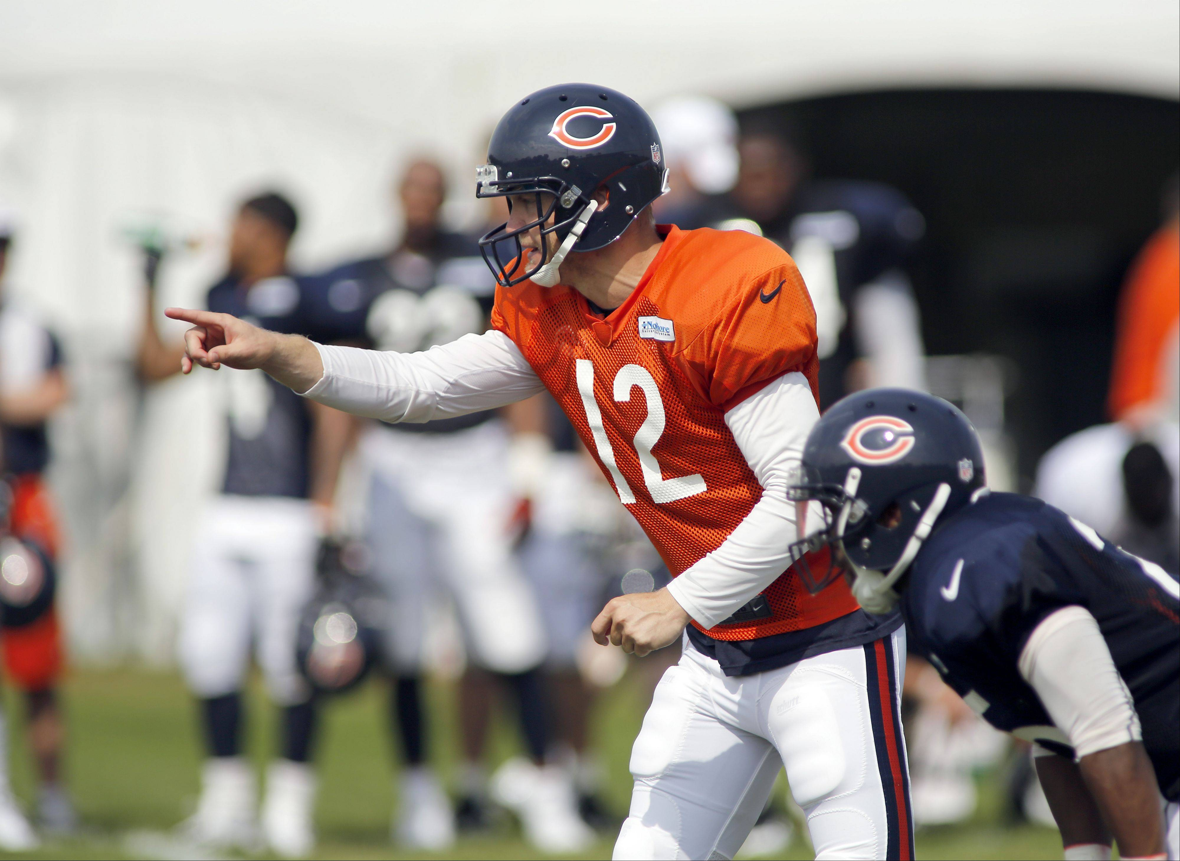 Chicago Bears quarterback Josh McCown (12) during the Chicago Bears training camp on the campus of Olivet Nazarene University in Bourbonnais, Wednesday.