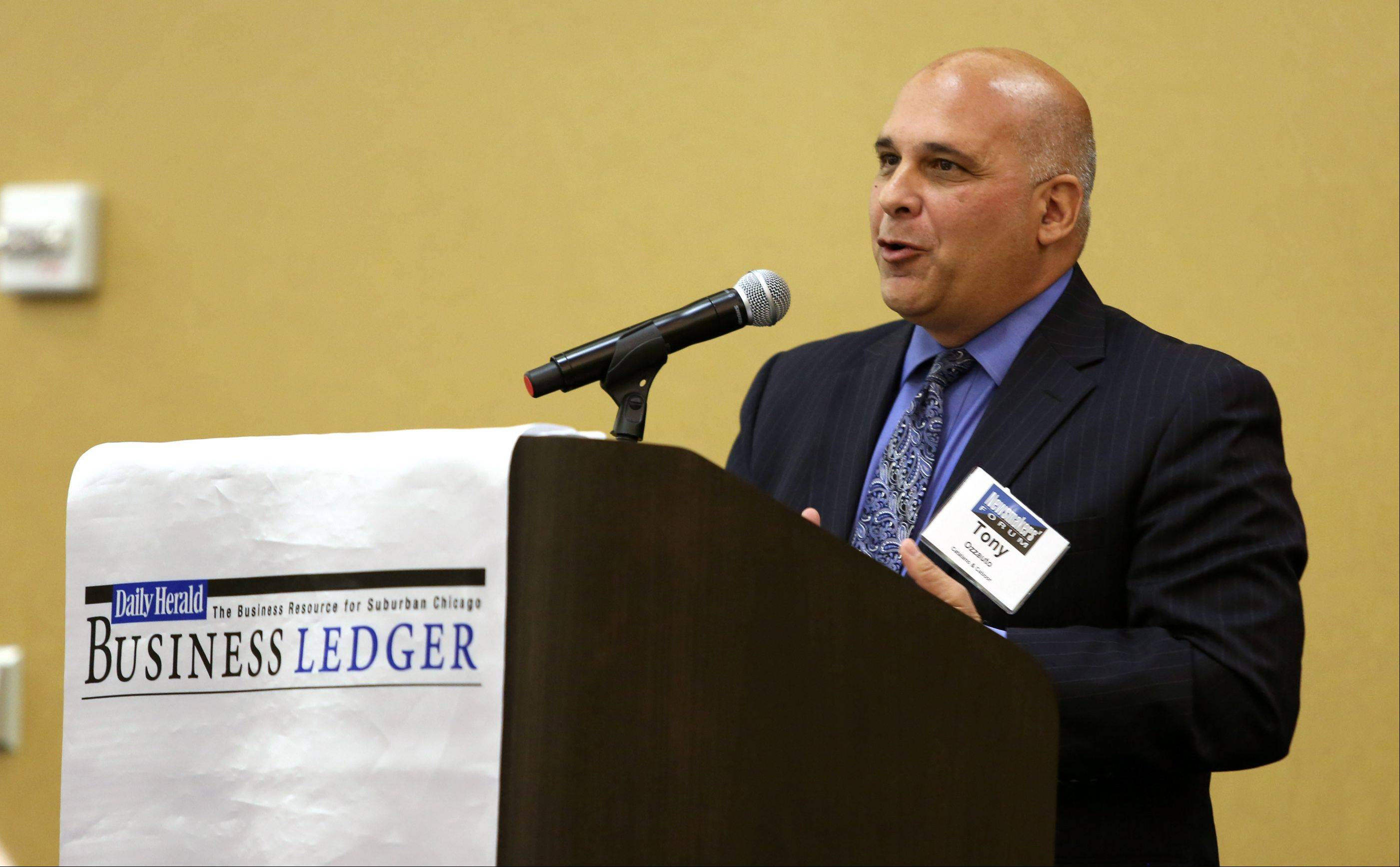 Tony Ozzauto, partner at Catalano & Caboor, speaks to the Newsmaker's Forum about Managing a Family Business. The forum was Thursday at the Doubletree by Hilton Hotel in Downers Grove.