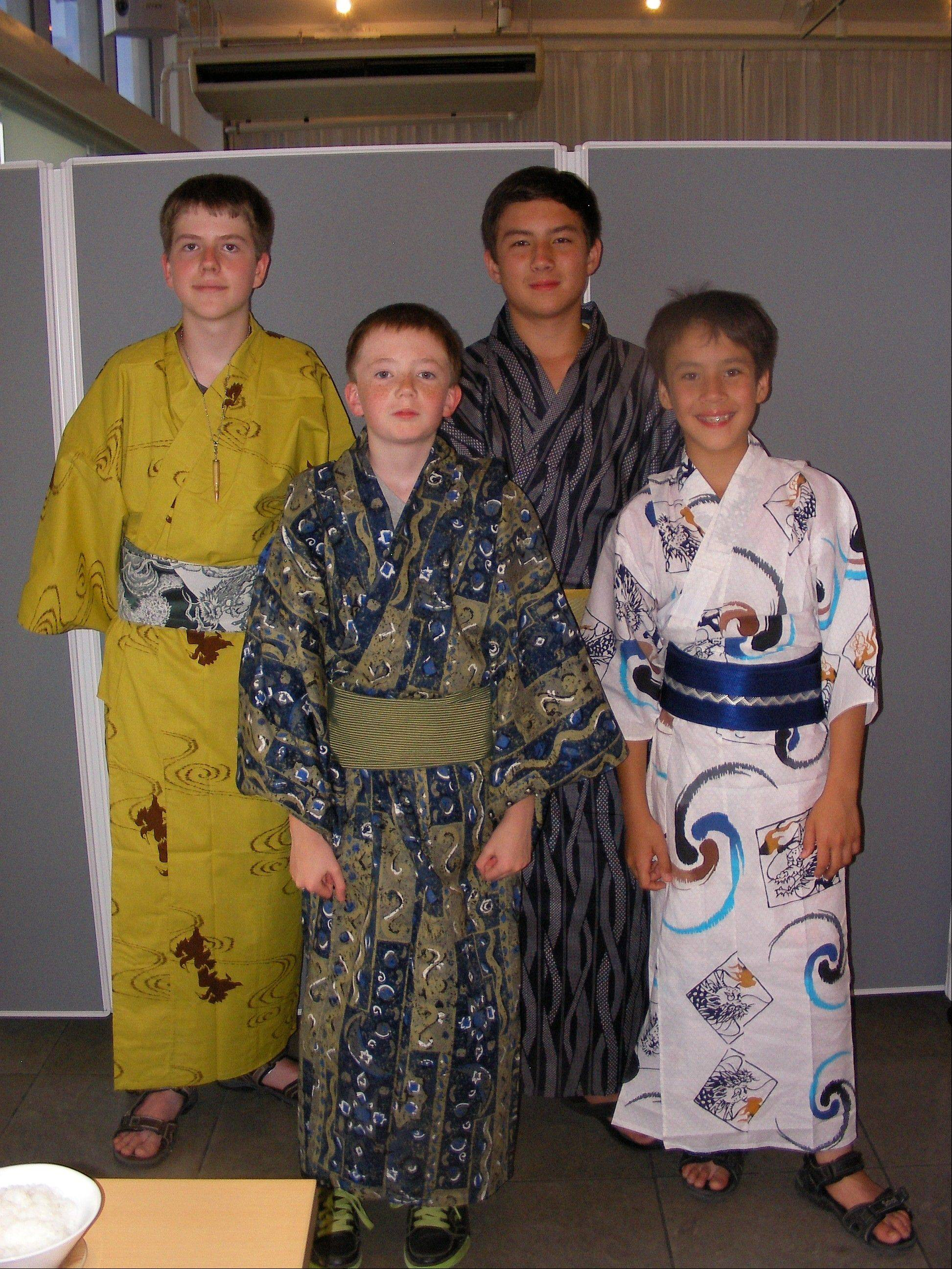 Boys ae in summer yukatas. From left to right, Ian Dwojacki, Brian Quill, Theodore Lietz and Thailer Lietz.