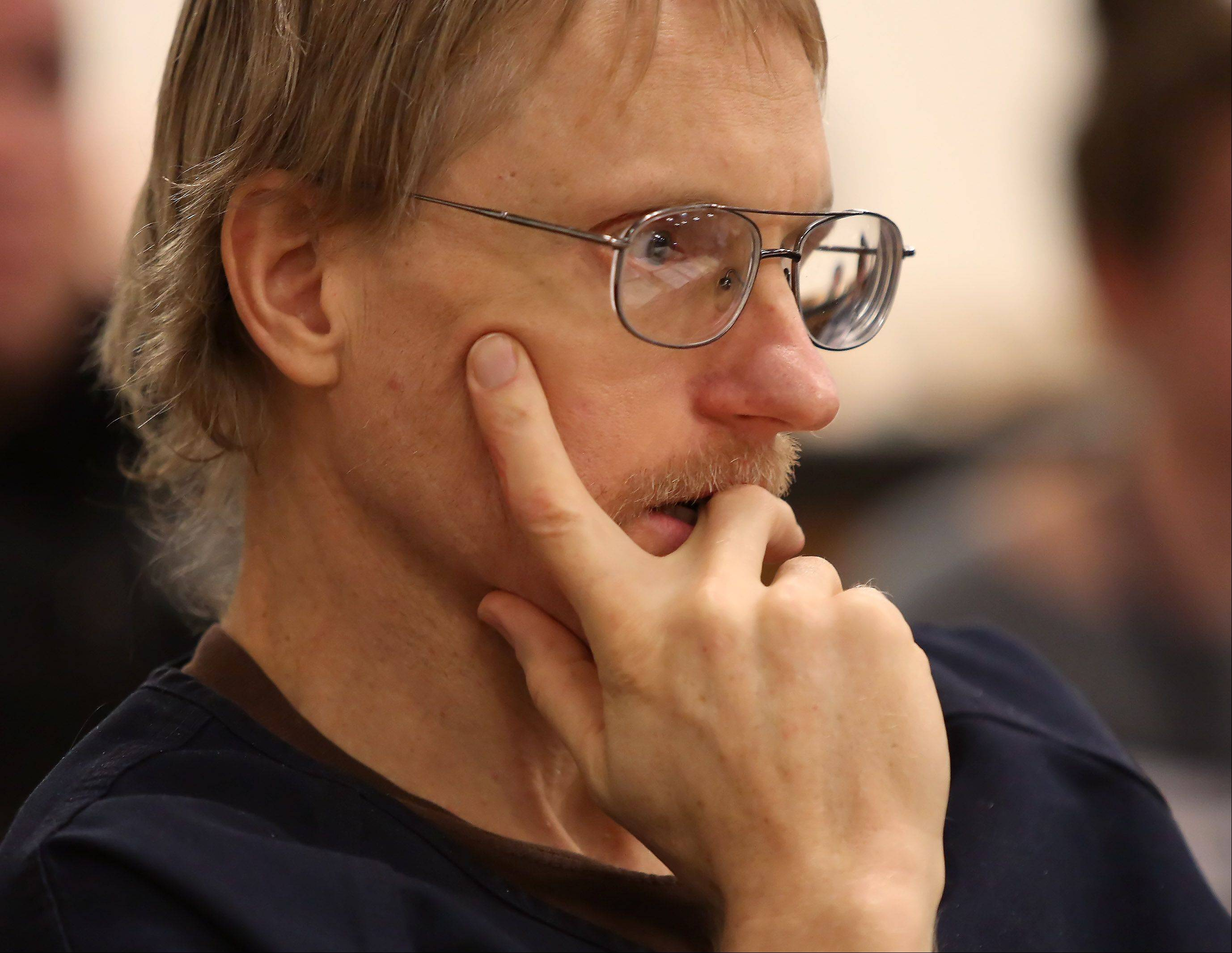 Ronald Stolberg listens to arguments during his sentencing hearing Thursday in Waukegan. He was sentenced to eight years in prison for involuntary manslaughter in the 2011 death of his wife, Rachel.