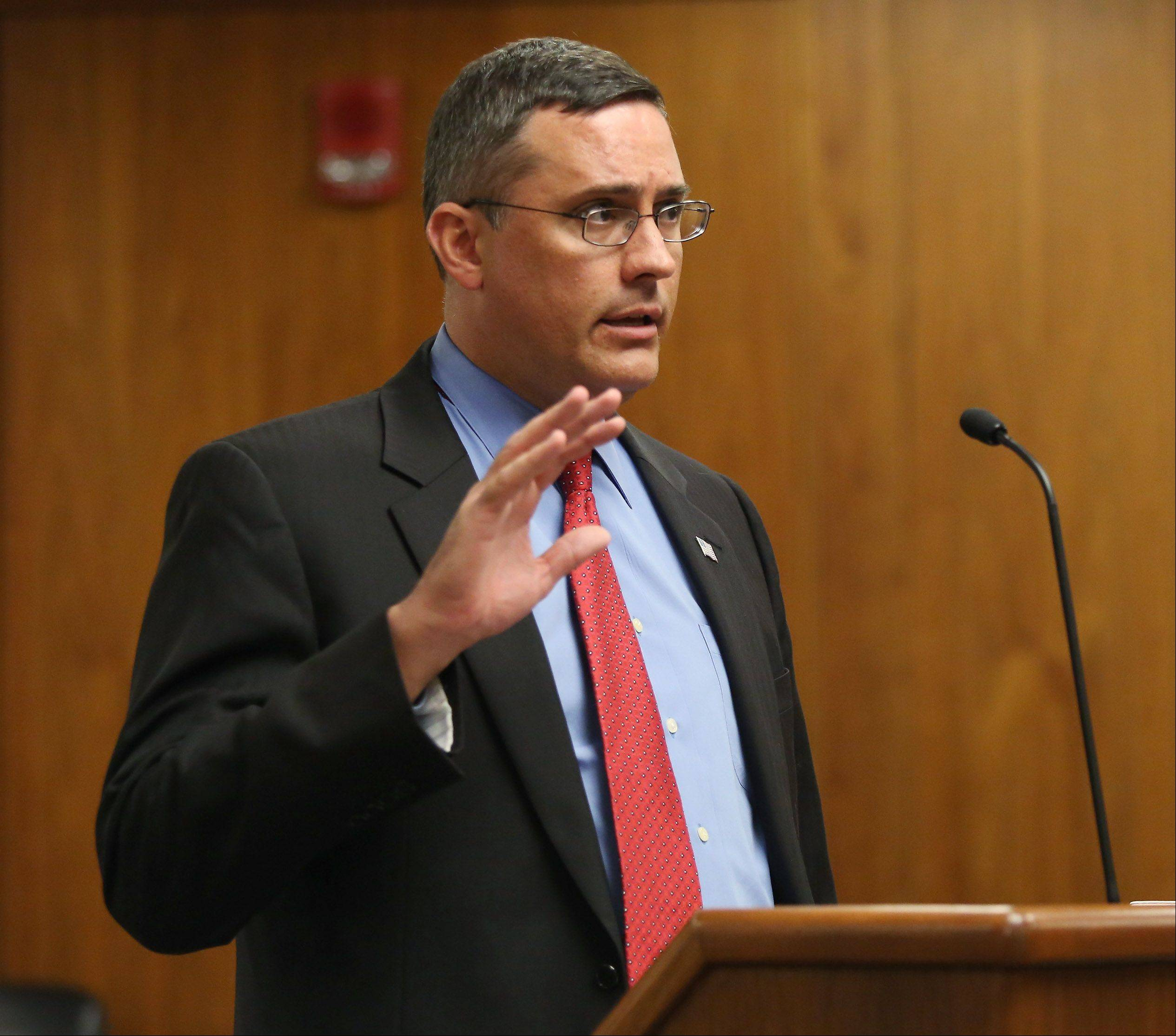 Lake County Assistant State's Attorney Scott Hoffert makes his closing statement during Ronald Stolberg's sentencing hearing Thursday in Waukegan. Stolberg received eight years in prison for involuntary manslaughter in the death of his wife, Rachel.